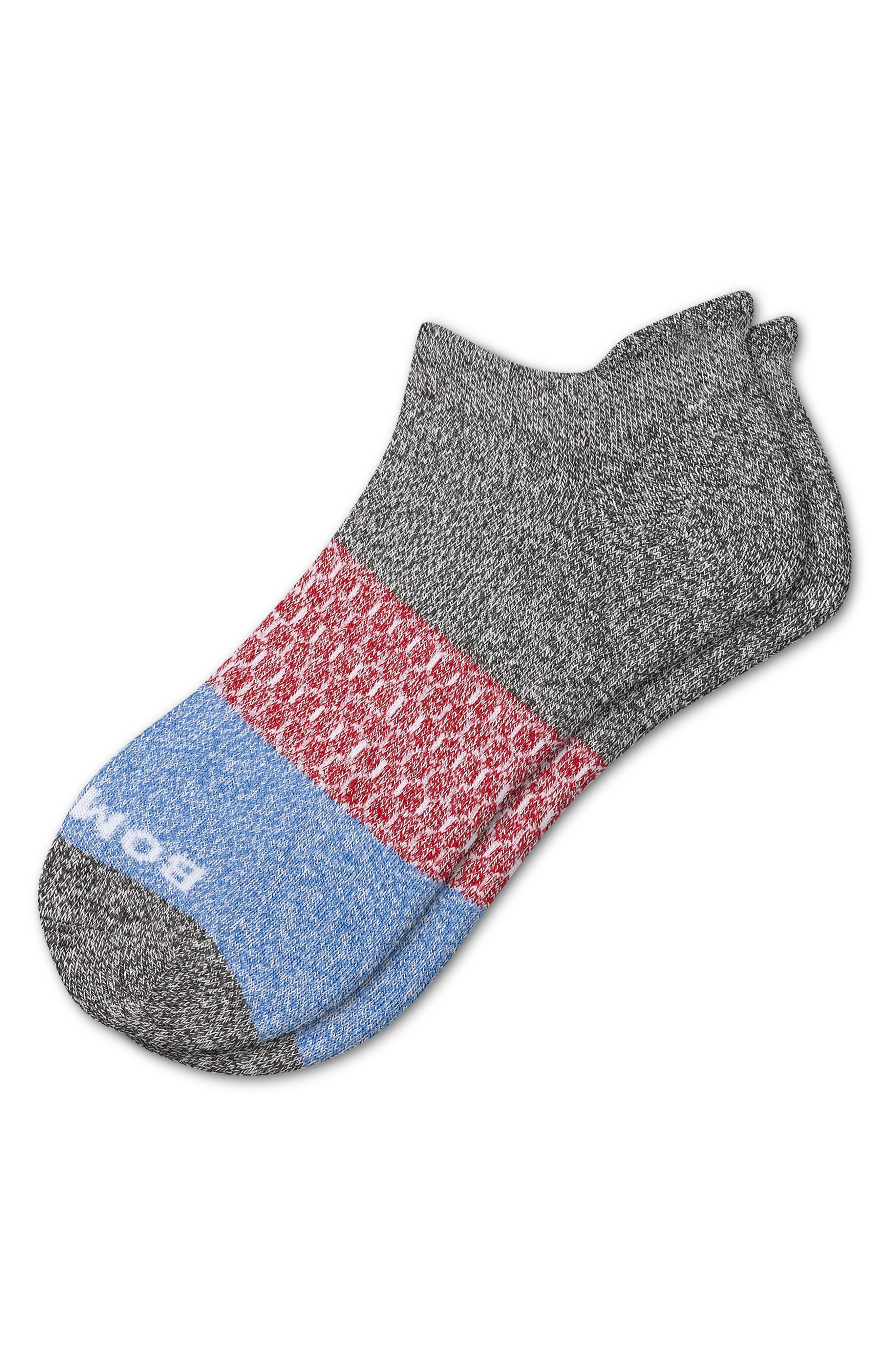 BOMBAS Colorblock Ankle Socks, Main, color, GREY CHILI PEPPER