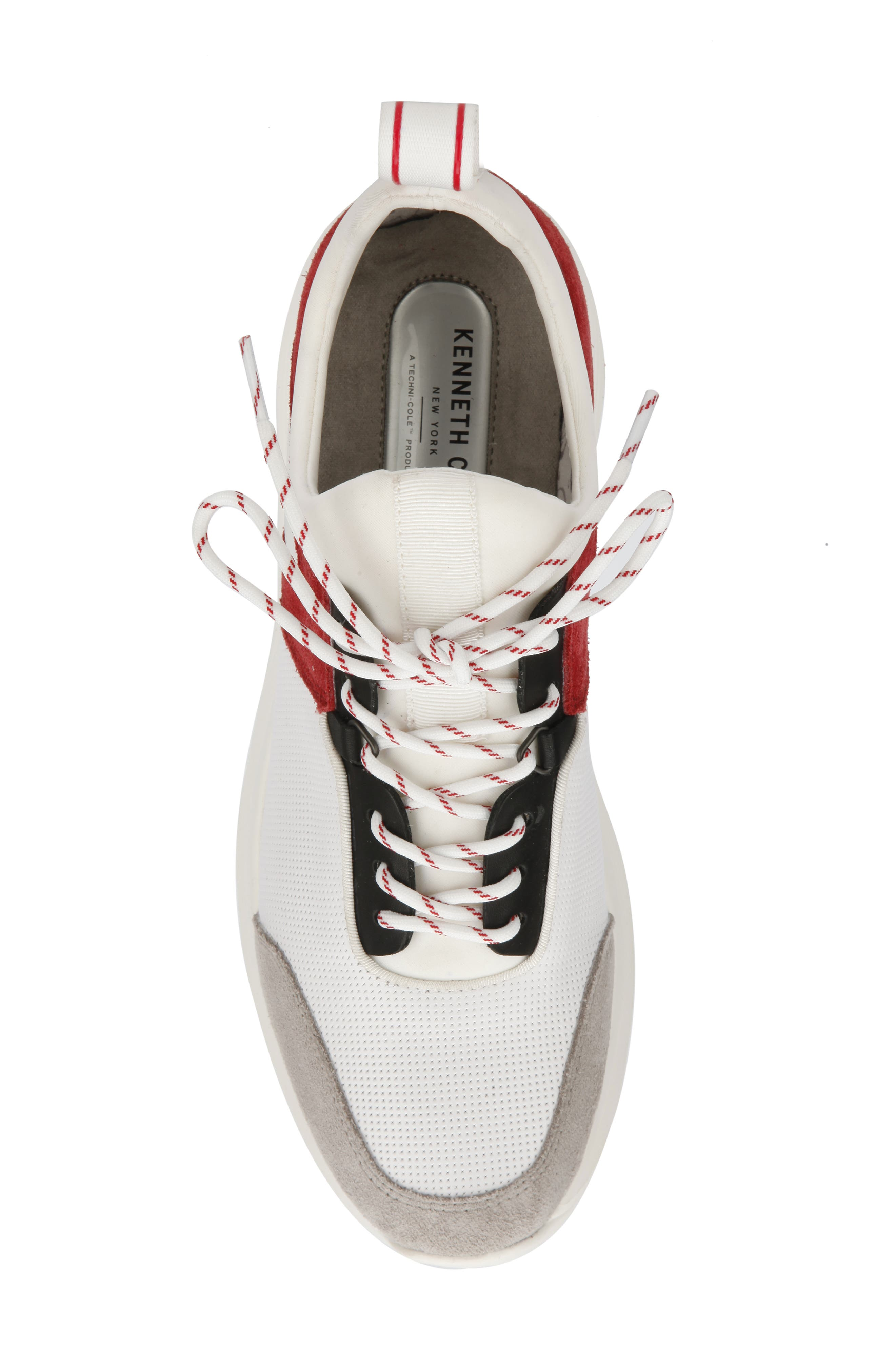 KENNETH COLE NEW YORK, Un-Dad Sneaker, Alternate thumbnail 3, color, WHITE/ RED LEATHER