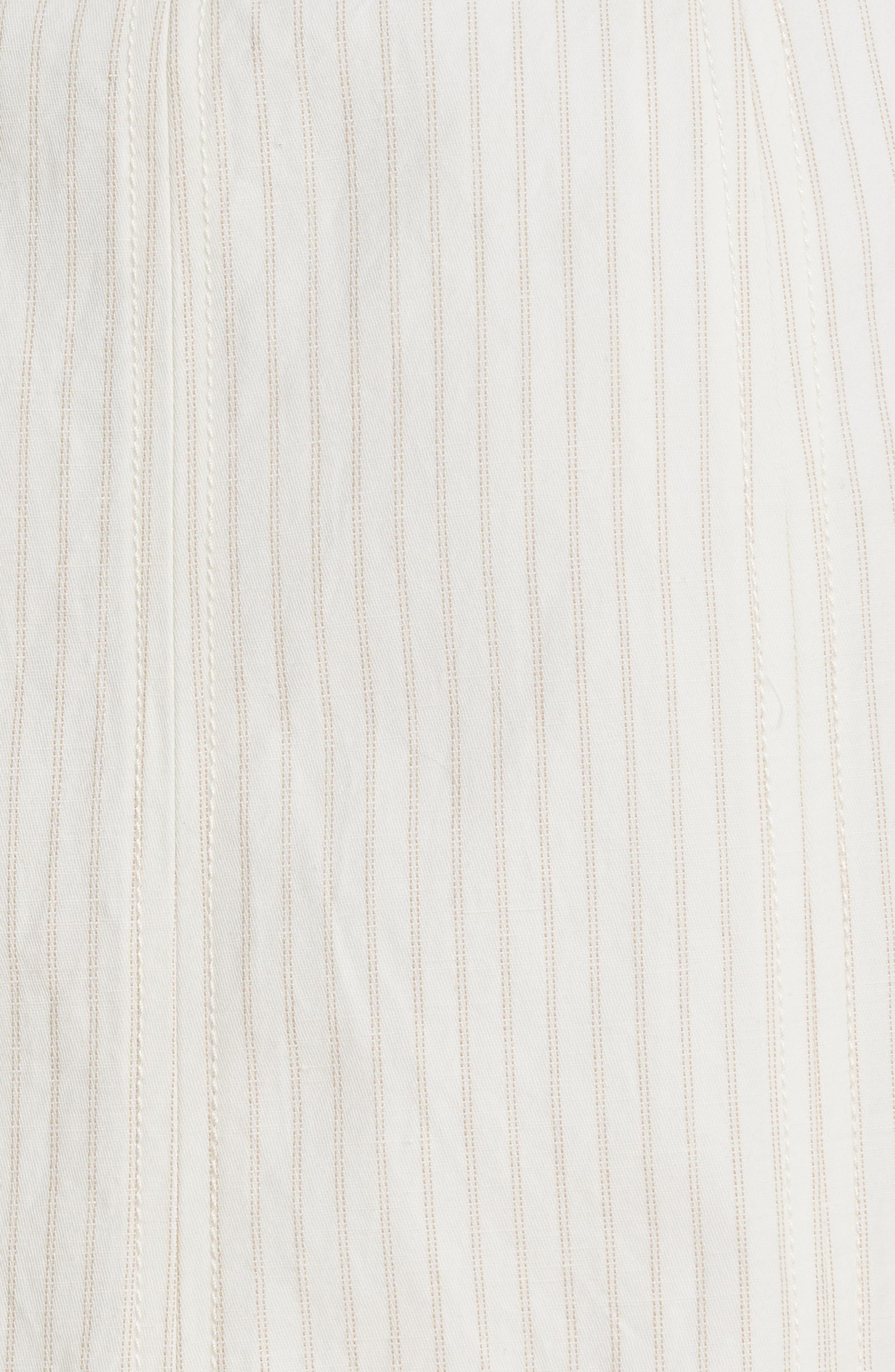 REBECCA TAYLOR, Zip Front Pinstripe Cotton & Linen Skirt, Alternate thumbnail 5, color, SNOW COMBO