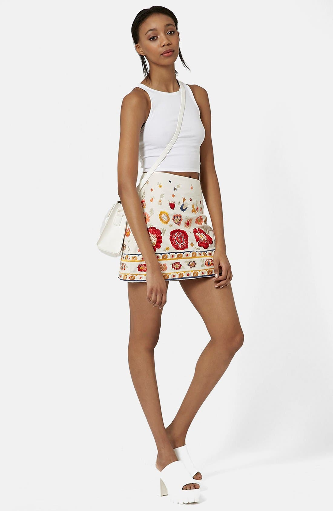 TOPSHOP, 'Troubadour' Embroidered Miniskirt, Alternate thumbnail 2, color, 900