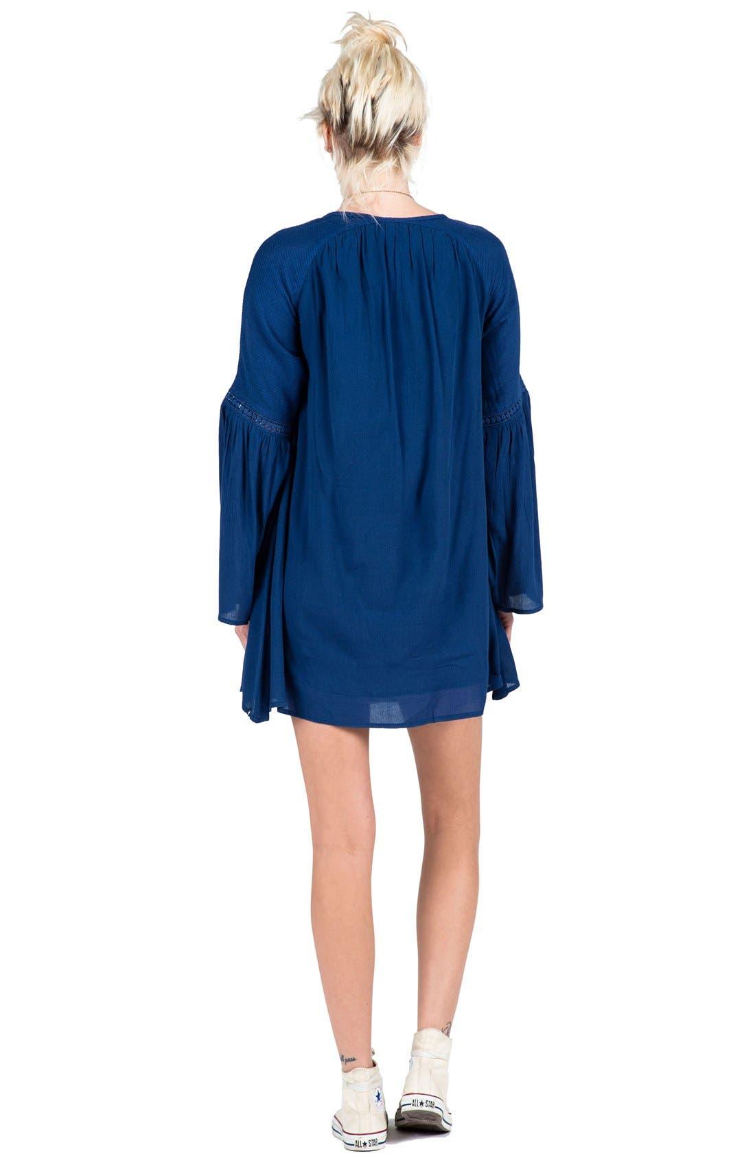 VOLCOM, 'Peaceazy' Babydoll Dress, Alternate thumbnail 3, color, 410