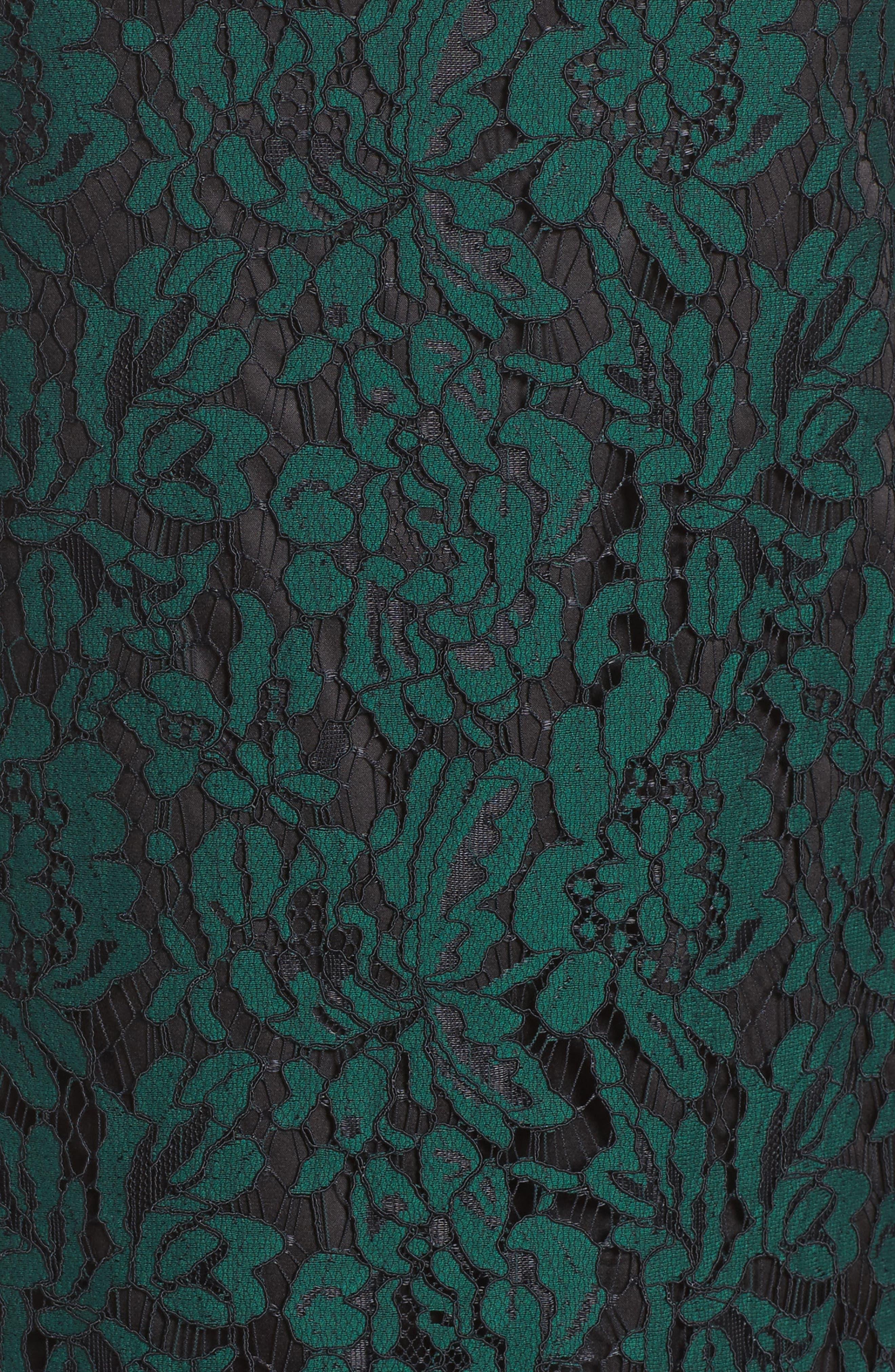 ELIZA J, Bell Sleeve Lace Shift Dress, Alternate thumbnail 6, color, HUNTER