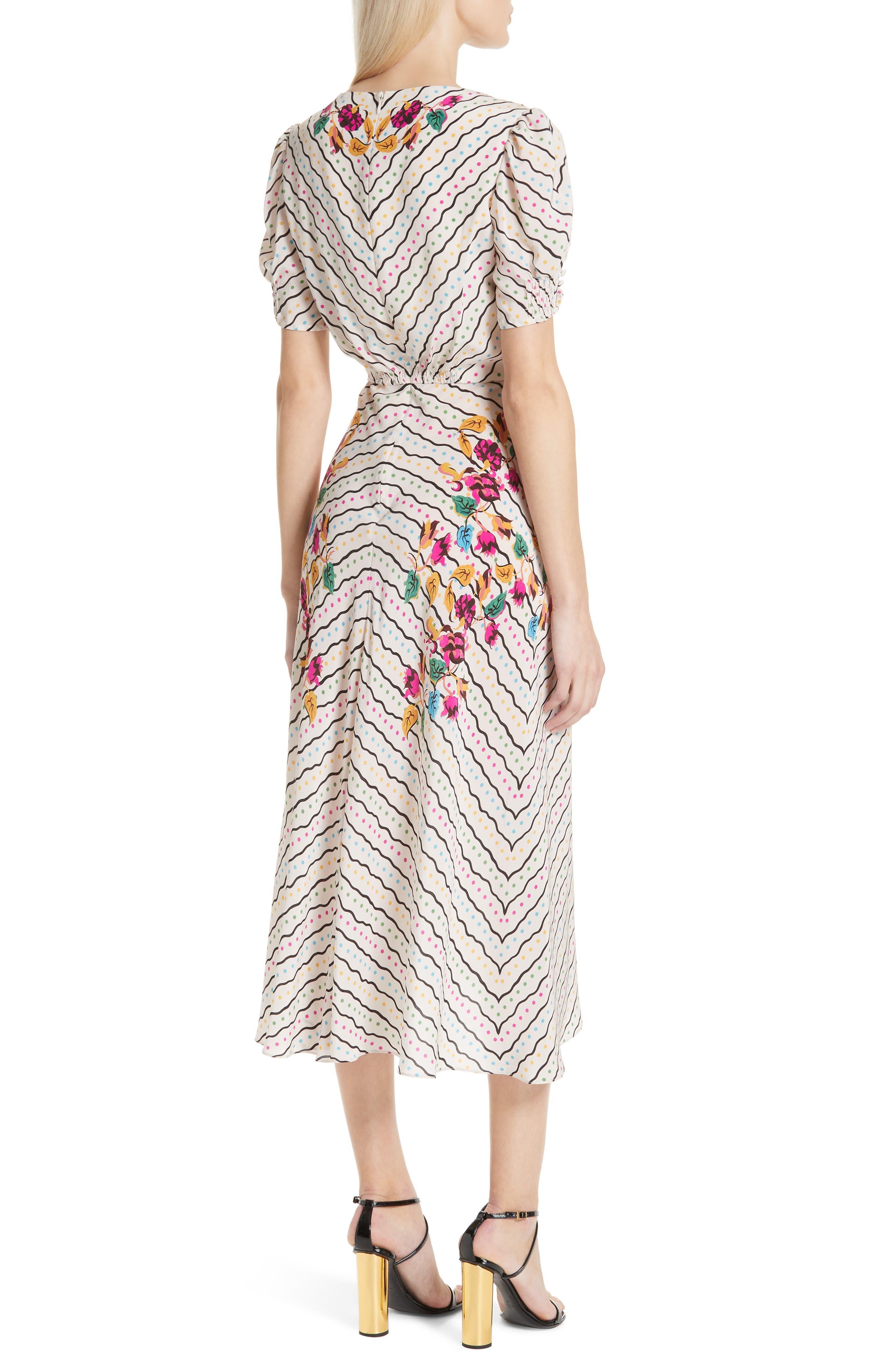 SALONI, Lea Silk Midi Dress, Alternate thumbnail 2, color, JAPONICA WIGGLE PLACEMENT