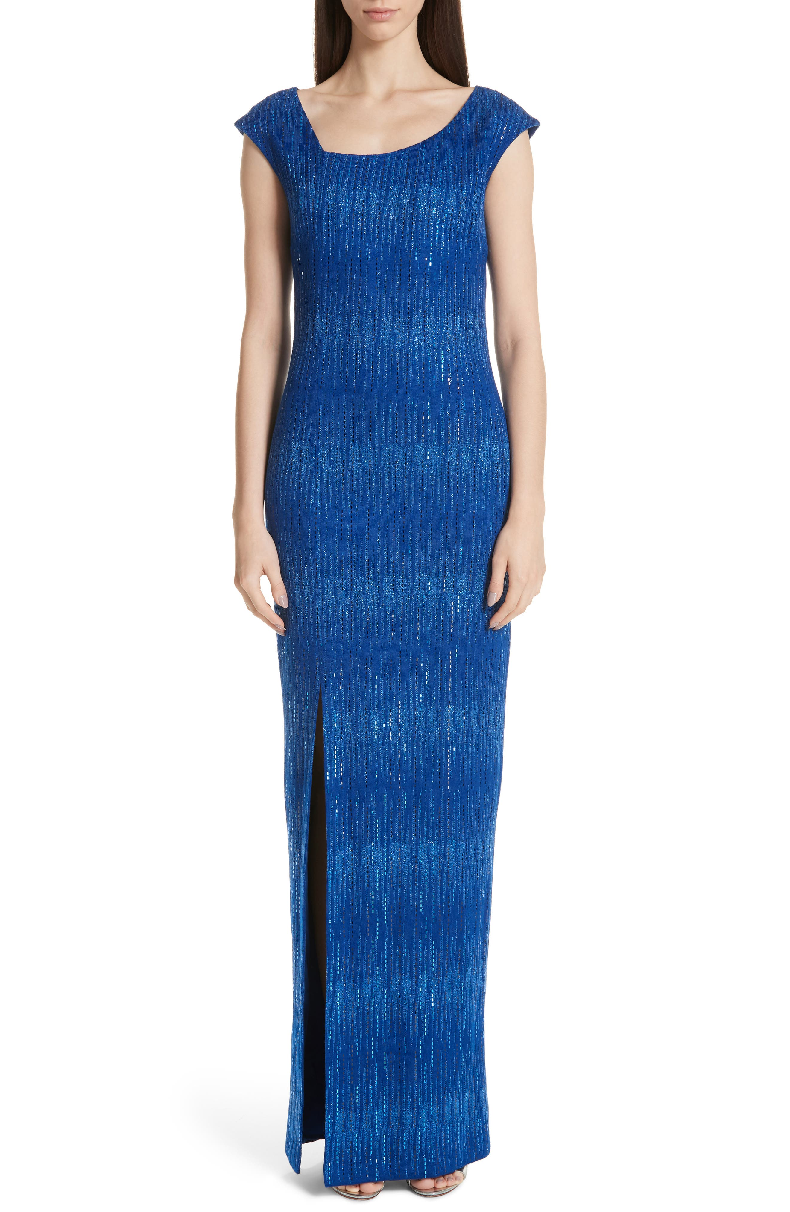 ST. JOHN COLLECTION, Asymmetrical Neck Carrie Knit Evening Dress, Main thumbnail 1, color, AZUL