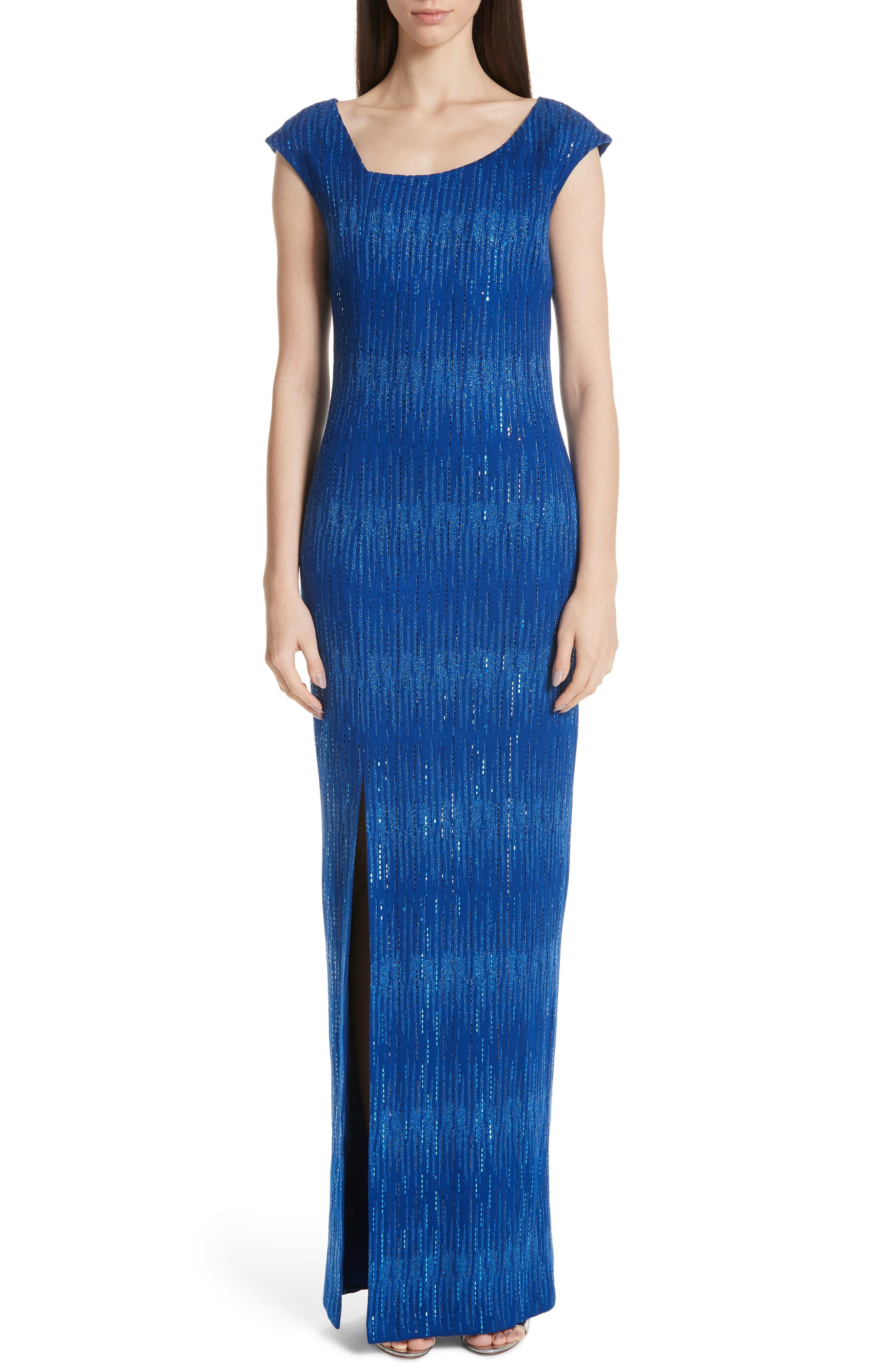 ST. JOHN COLLECTION Asymmetrical Neck Carrie Knit Evening Dress, Main, color, AZUL