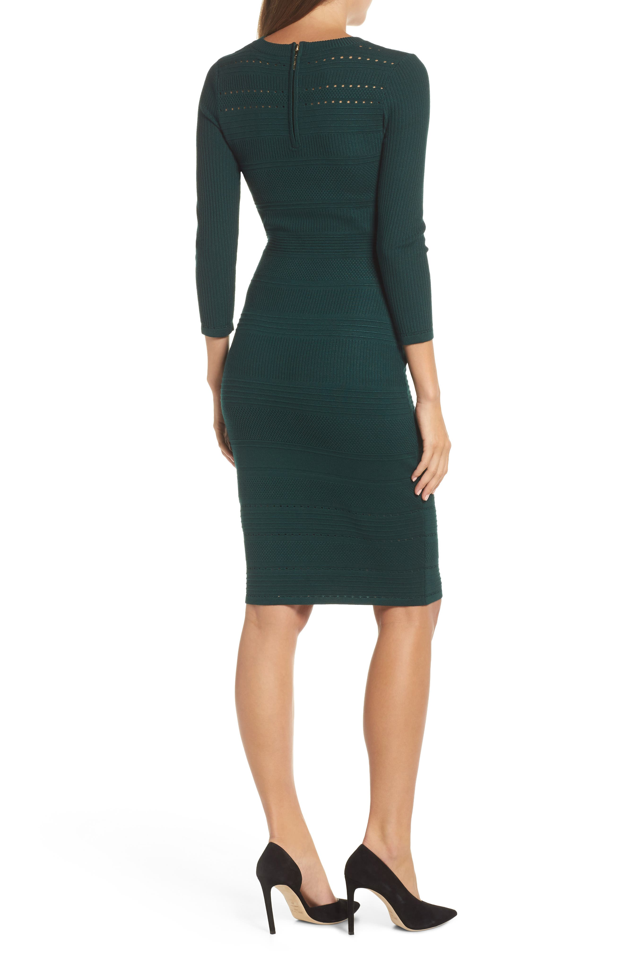ELIZA J, Stitch Detail Sweater Dress, Alternate thumbnail 2, color, GREEN