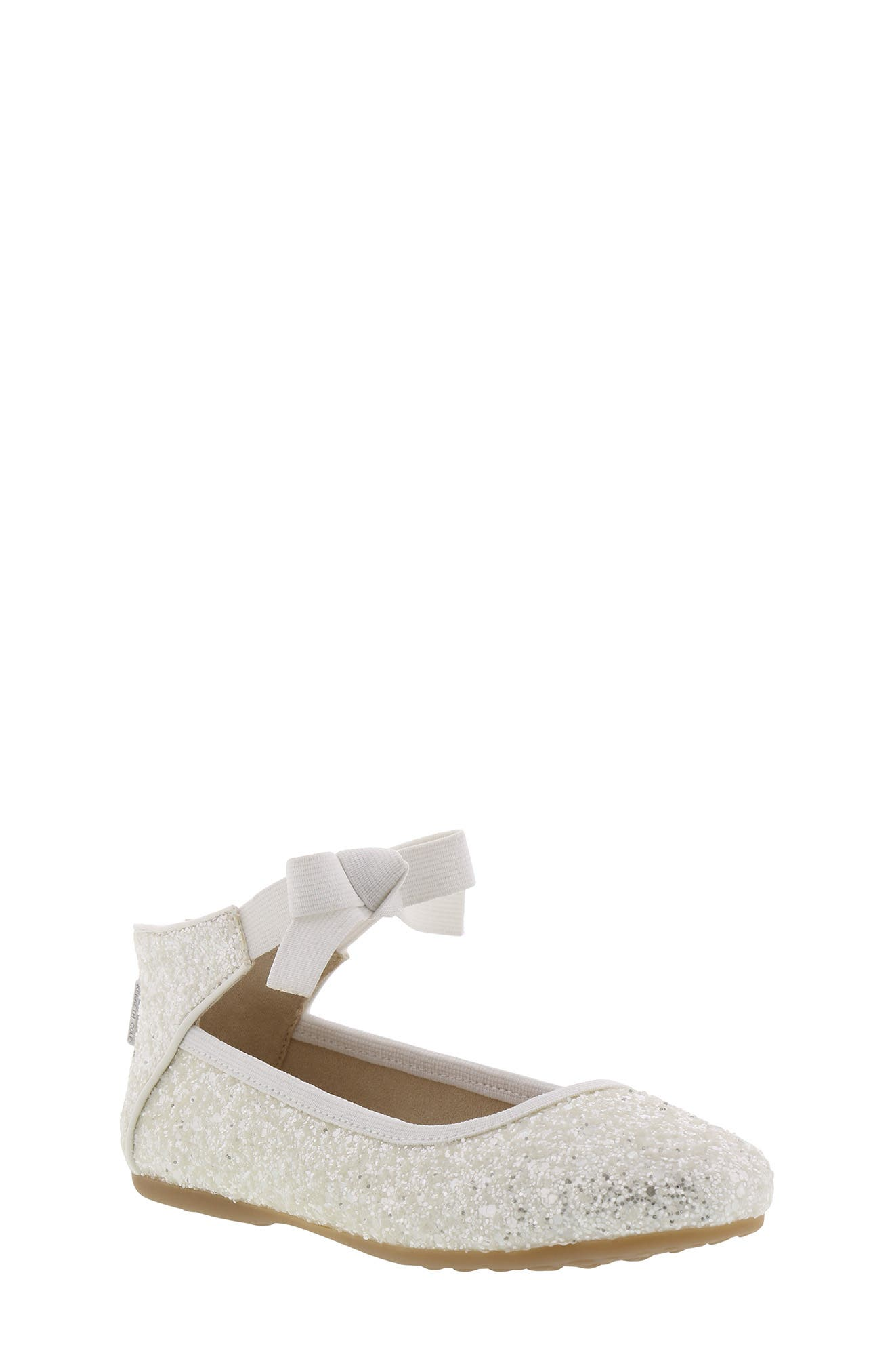 KENNETH COLE NEW YORK, Rose Bow Ballet Flat, Main thumbnail 1, color, WHITE SUGAR GLITTER