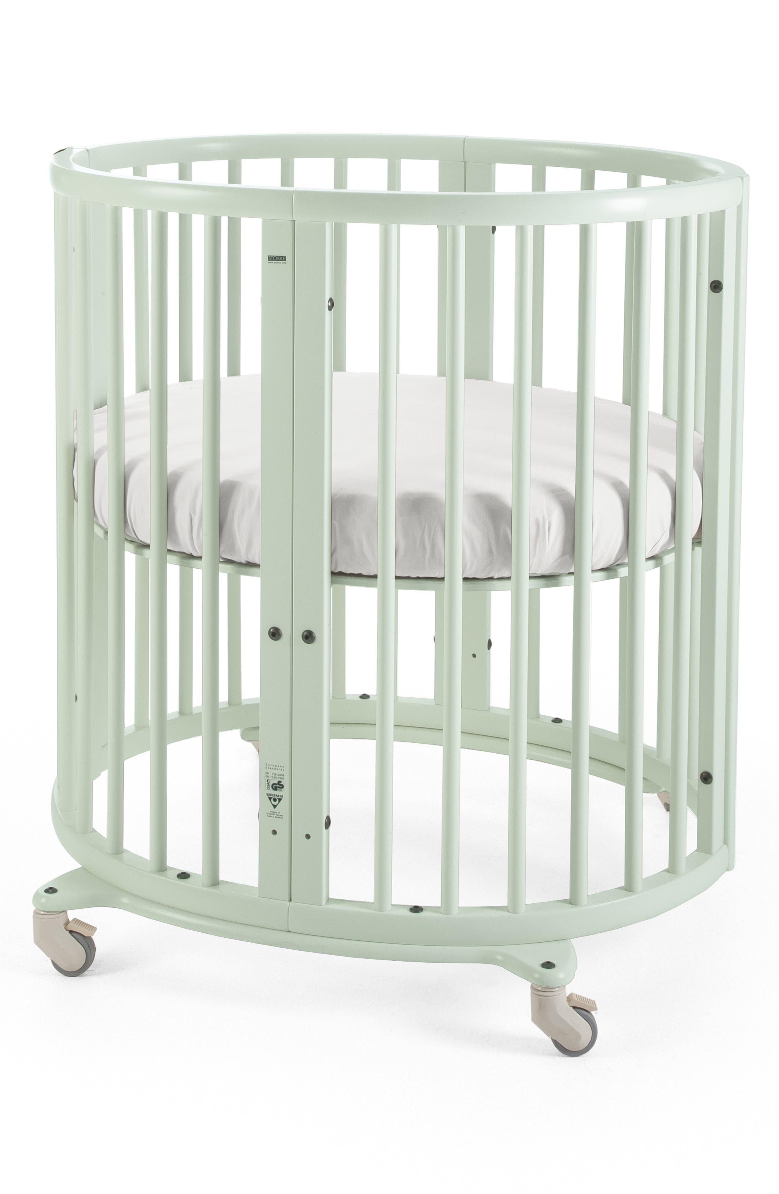 STOKKE, Sleepi Mini Crib, Drape Rod & Mattress Bundle, Main thumbnail 1, color, MINT GREEN