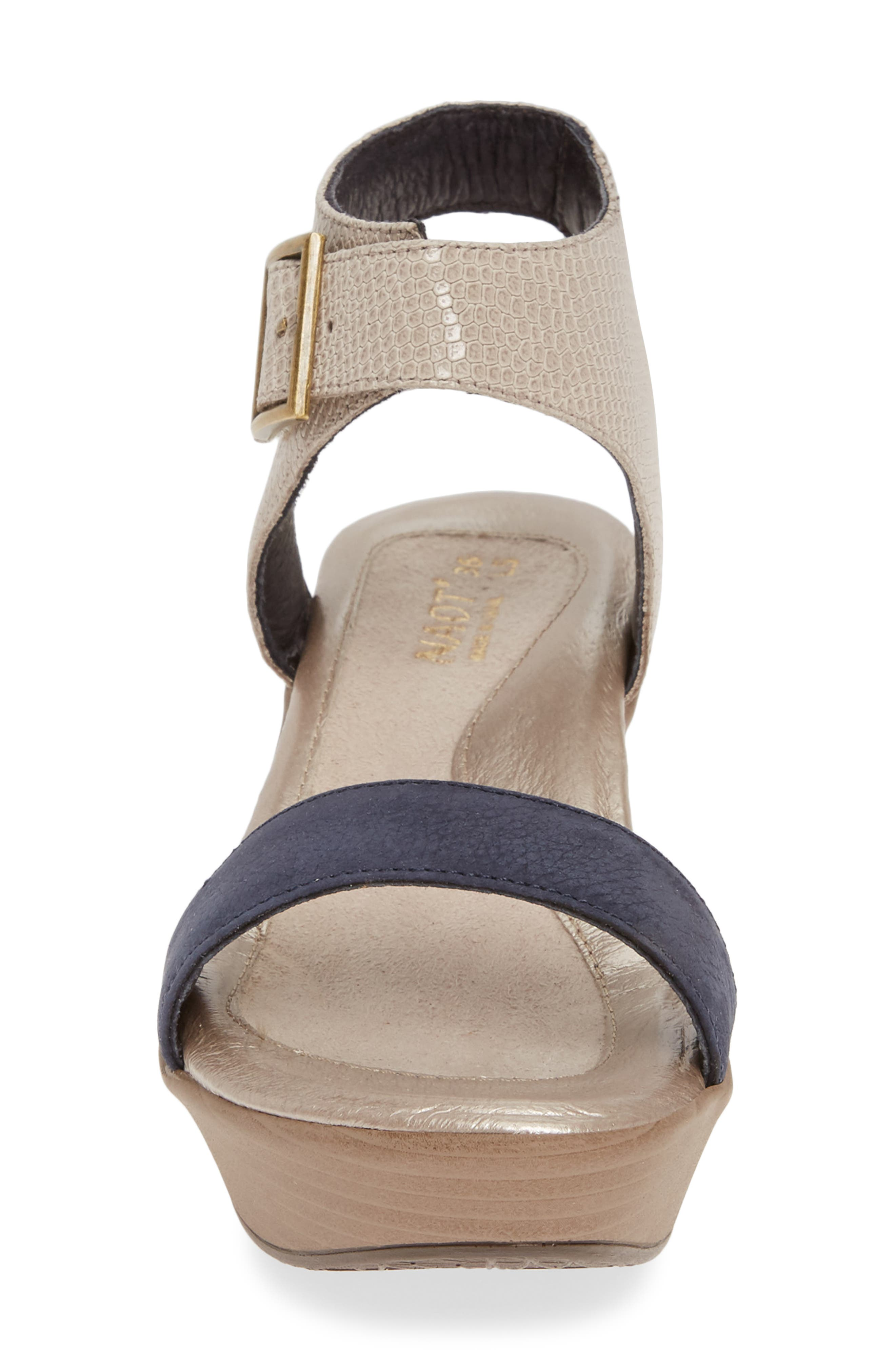NAOT, Caprice Wedge Sandal, Alternate thumbnail 4, color, BEIGE LIZARD/ NAVY VELVET