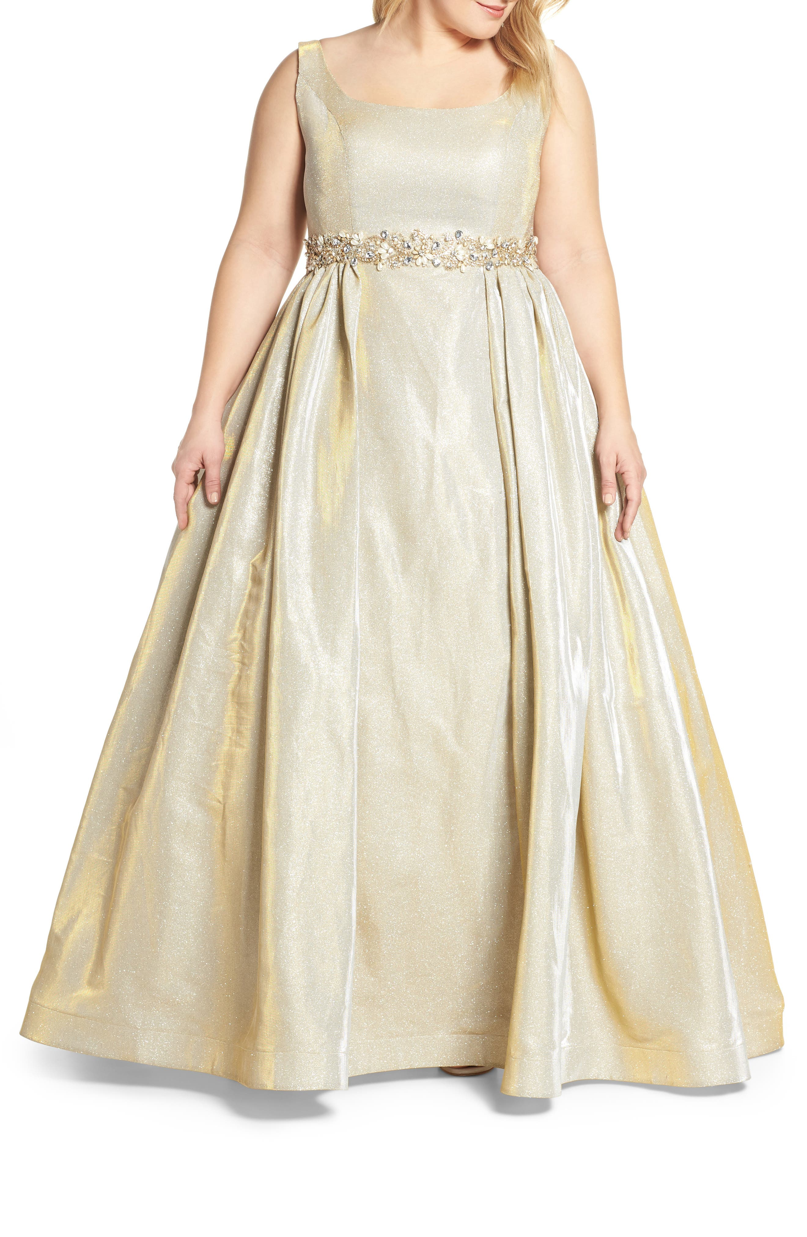 Plus Size MAC Duggal Jeweled Waist Metallic Evening Dress, Yellow
