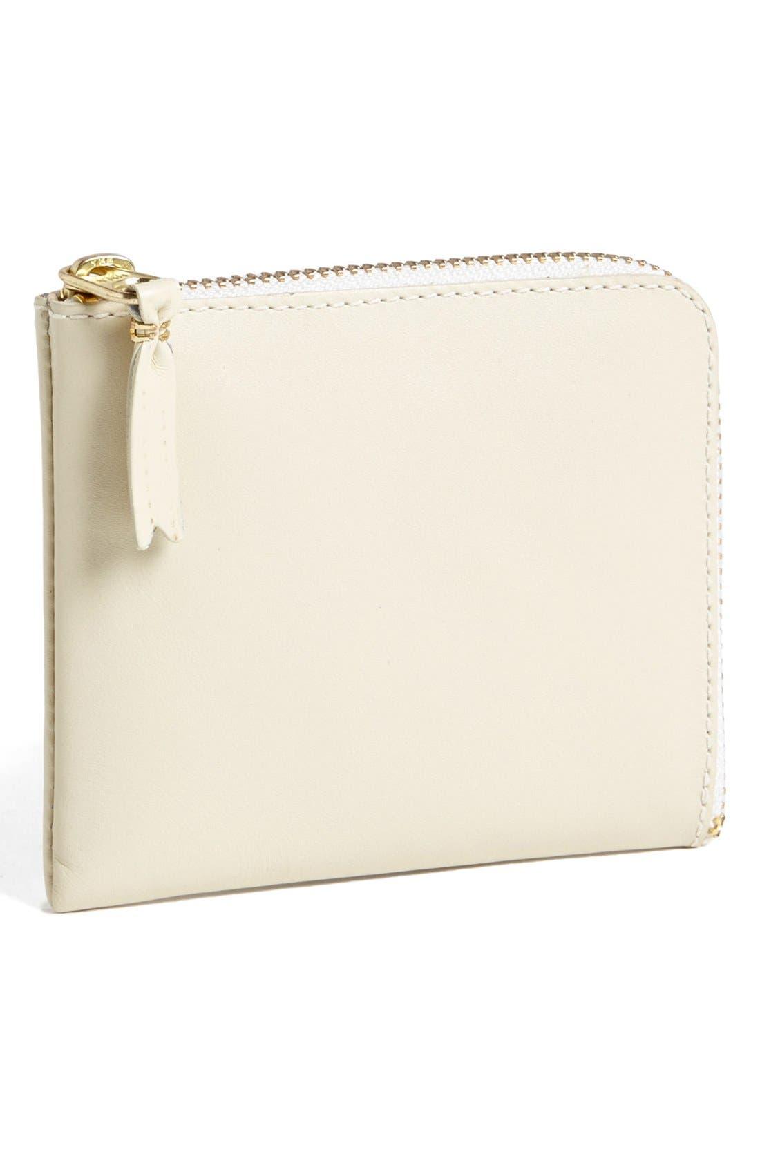 COMME DES GARÇONS, Half-Zip Leather Wallet, Main thumbnail 1, color, 110