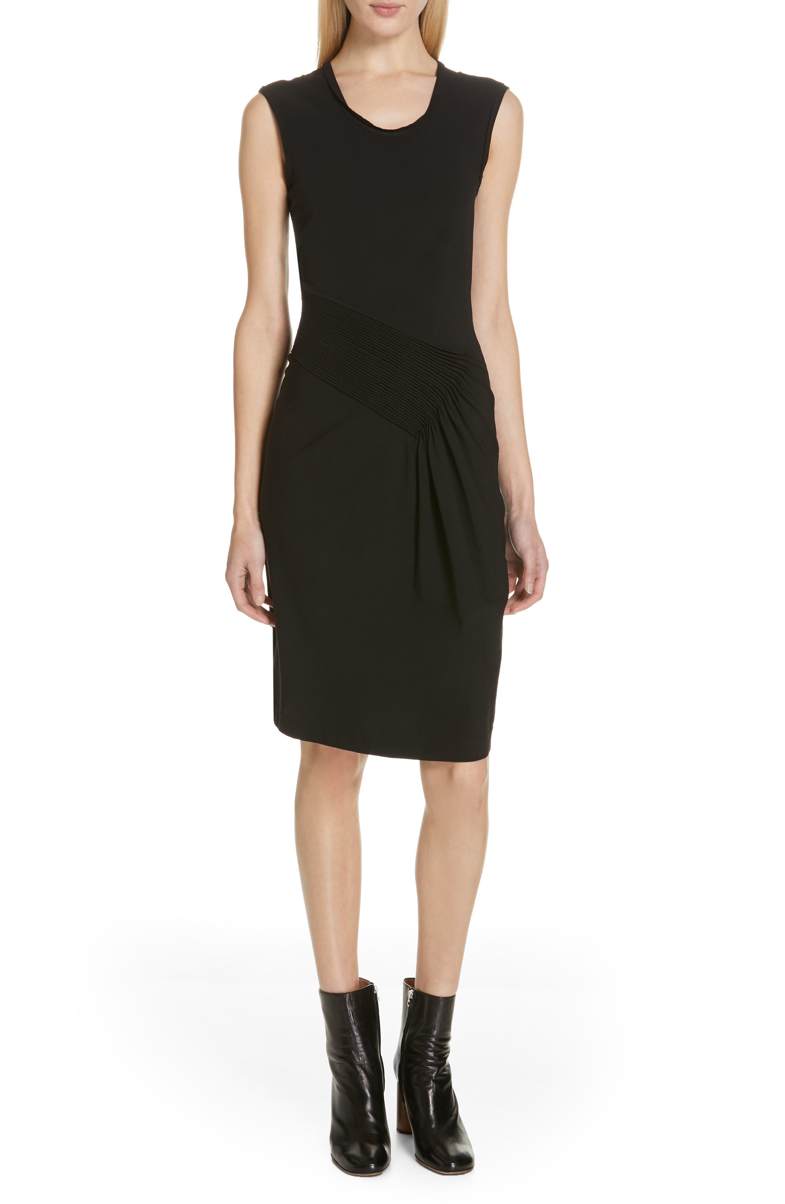 HELMUT LANG, Pleated Jersey Dress, Main thumbnail 1, color, BLACK