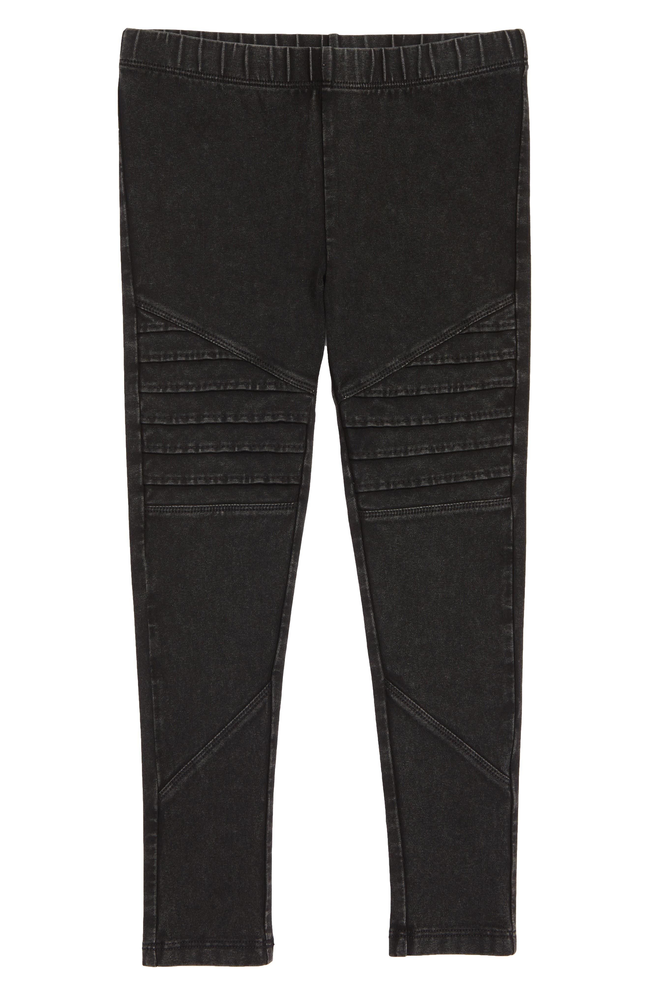 TUCKER + TATE, Stretch Cotton Moto Leggings, Main thumbnail 1, color, BLACK ROCK WASH