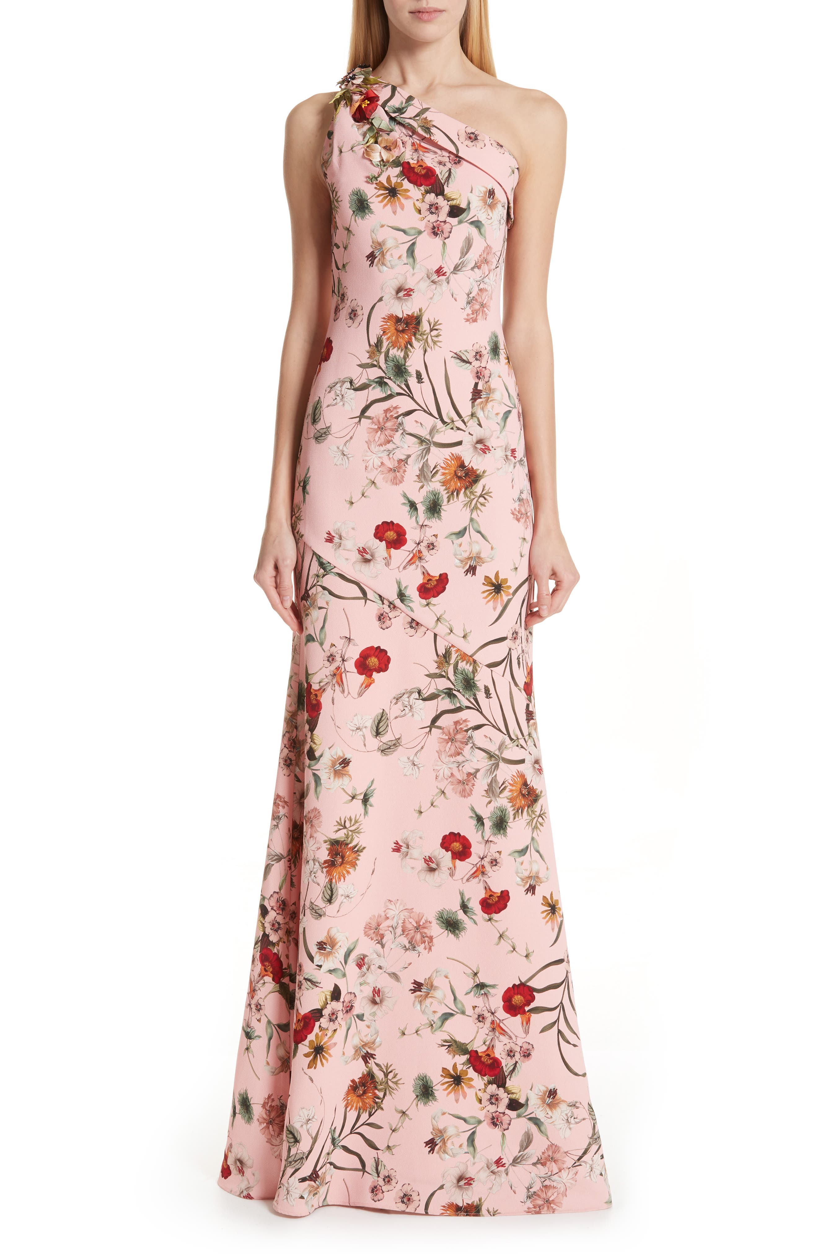 Badgley Mischka One-Shoulder Floral Evening Dress, Pink
