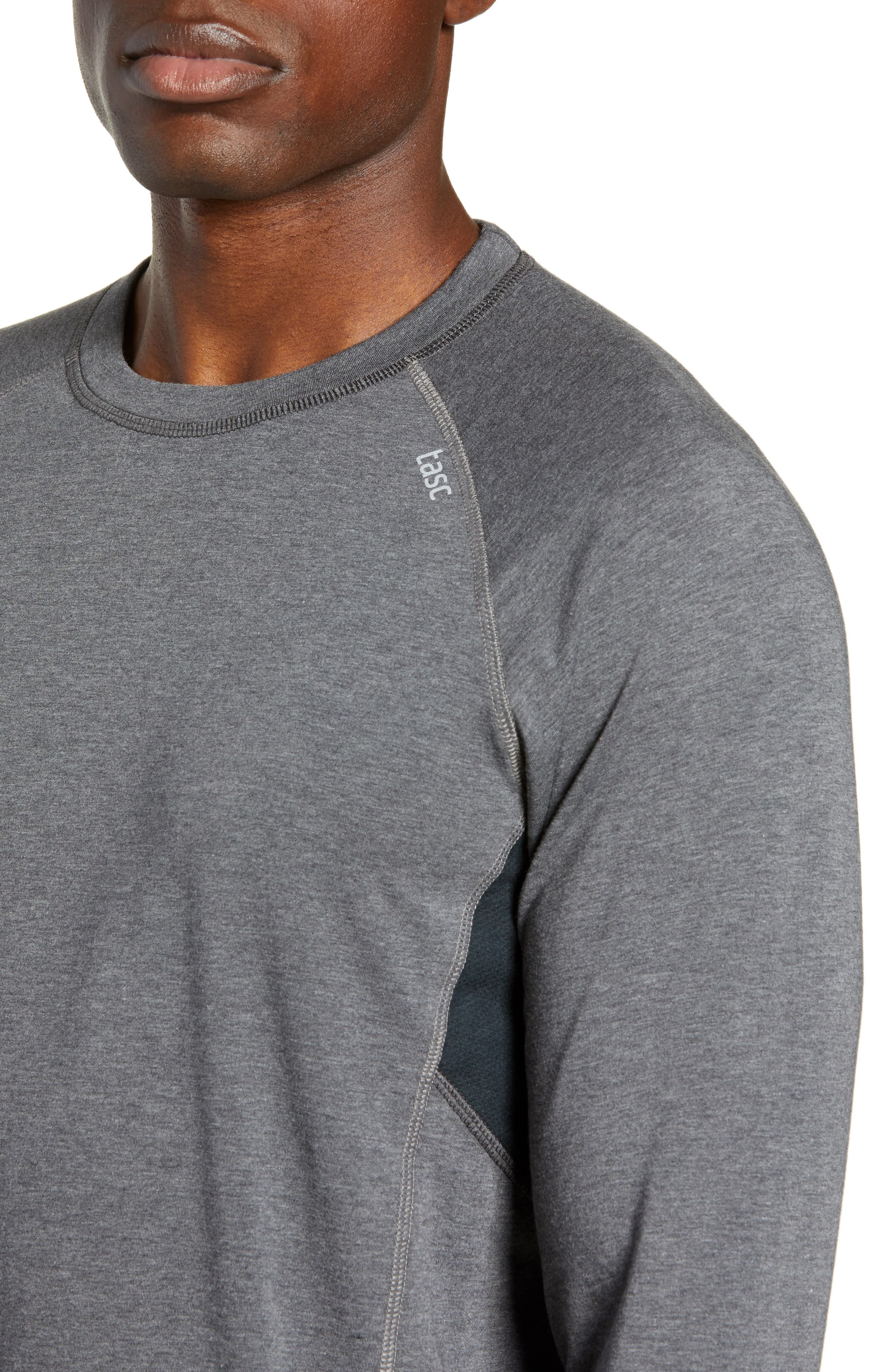 TASC PERFORMANCE, Charge II Long Sleeve Shirt, Alternate thumbnail 4, color, BLACK HEATHER