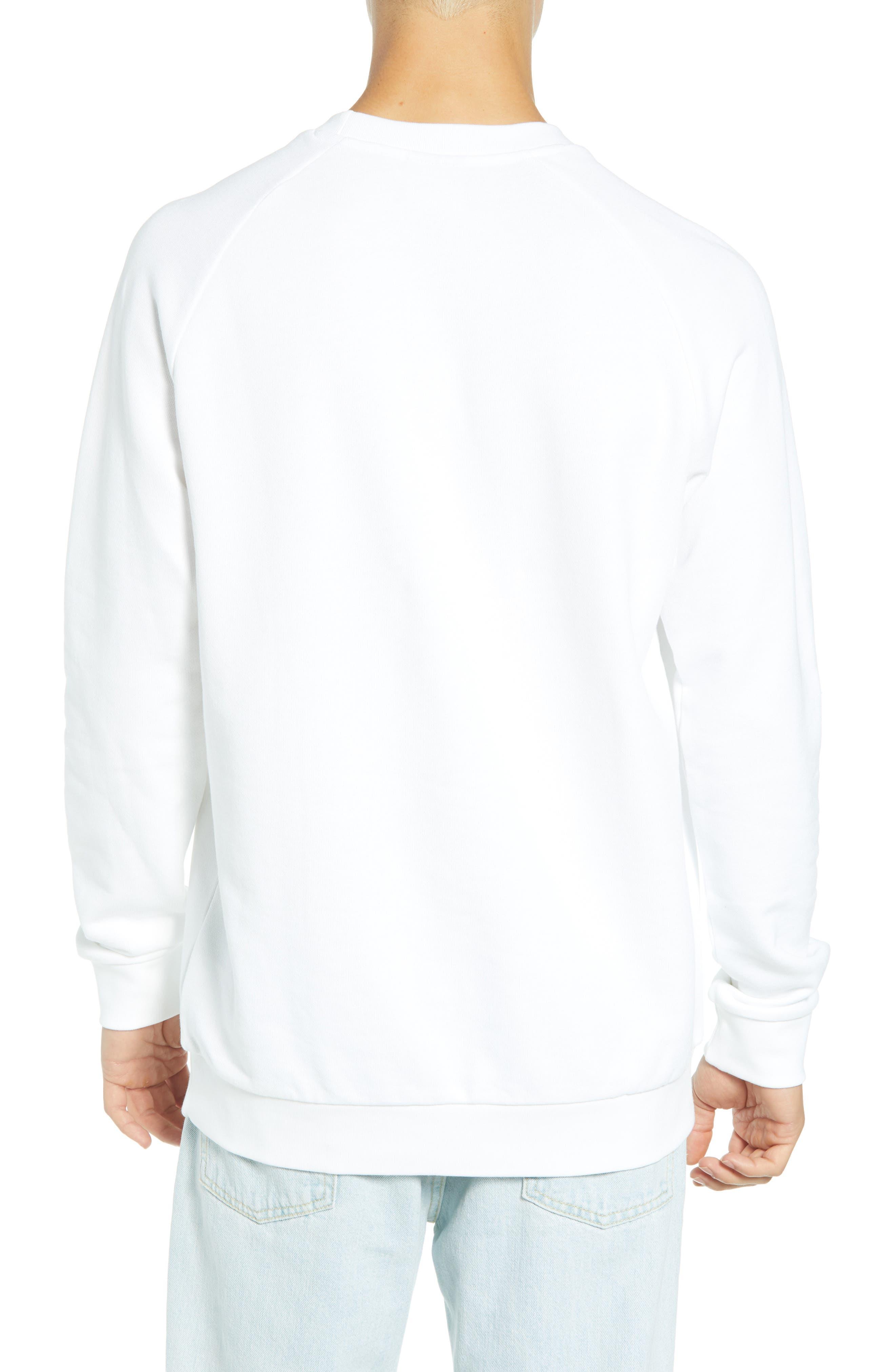 ADIDAS ORIGINALS, Trefoil Sweatshirt, Alternate thumbnail 2, color, WHITE