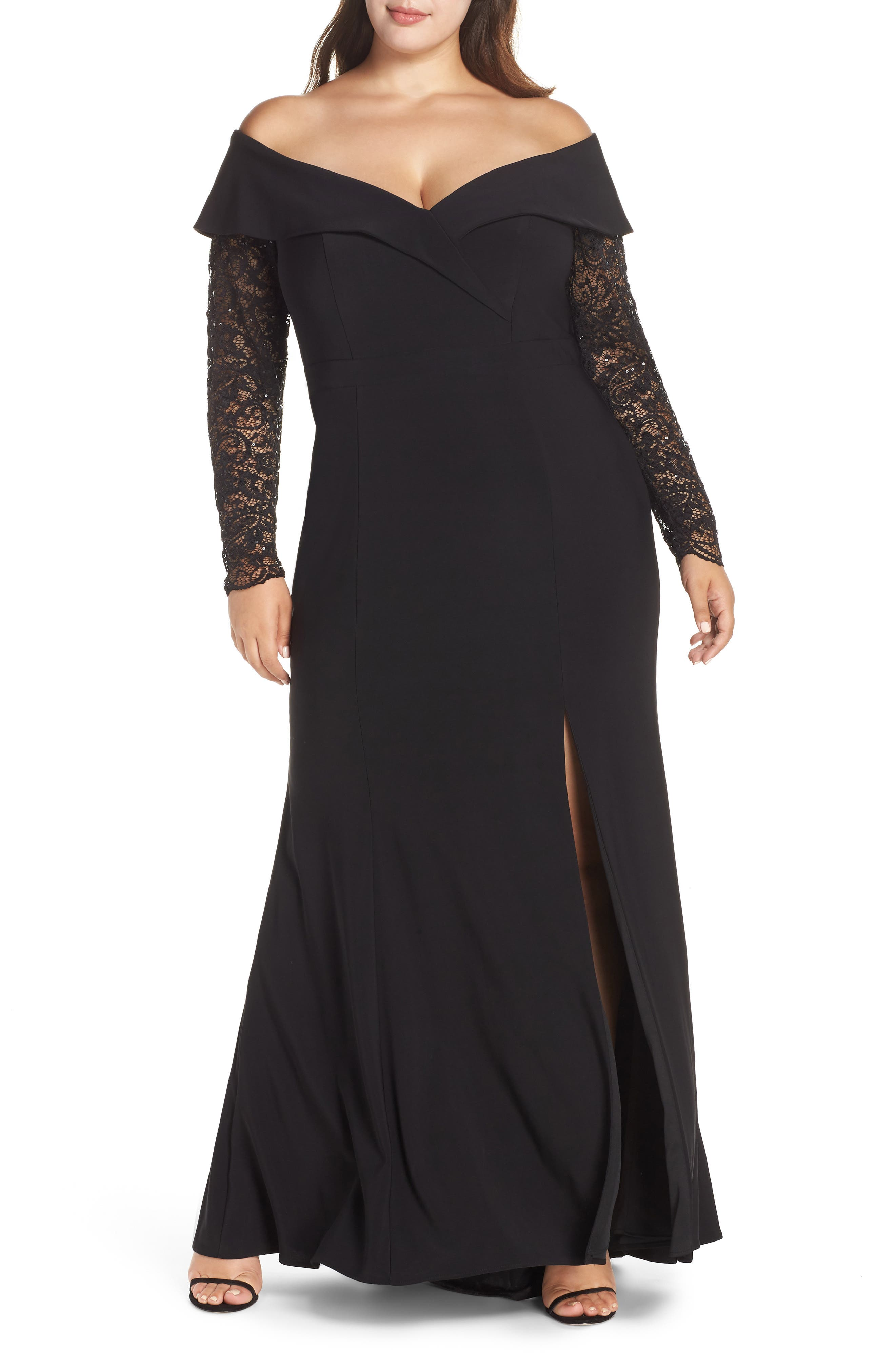 XSCAPE Off the Shoulder Lace Sleeve Evening Gown, Main, color, BLACK