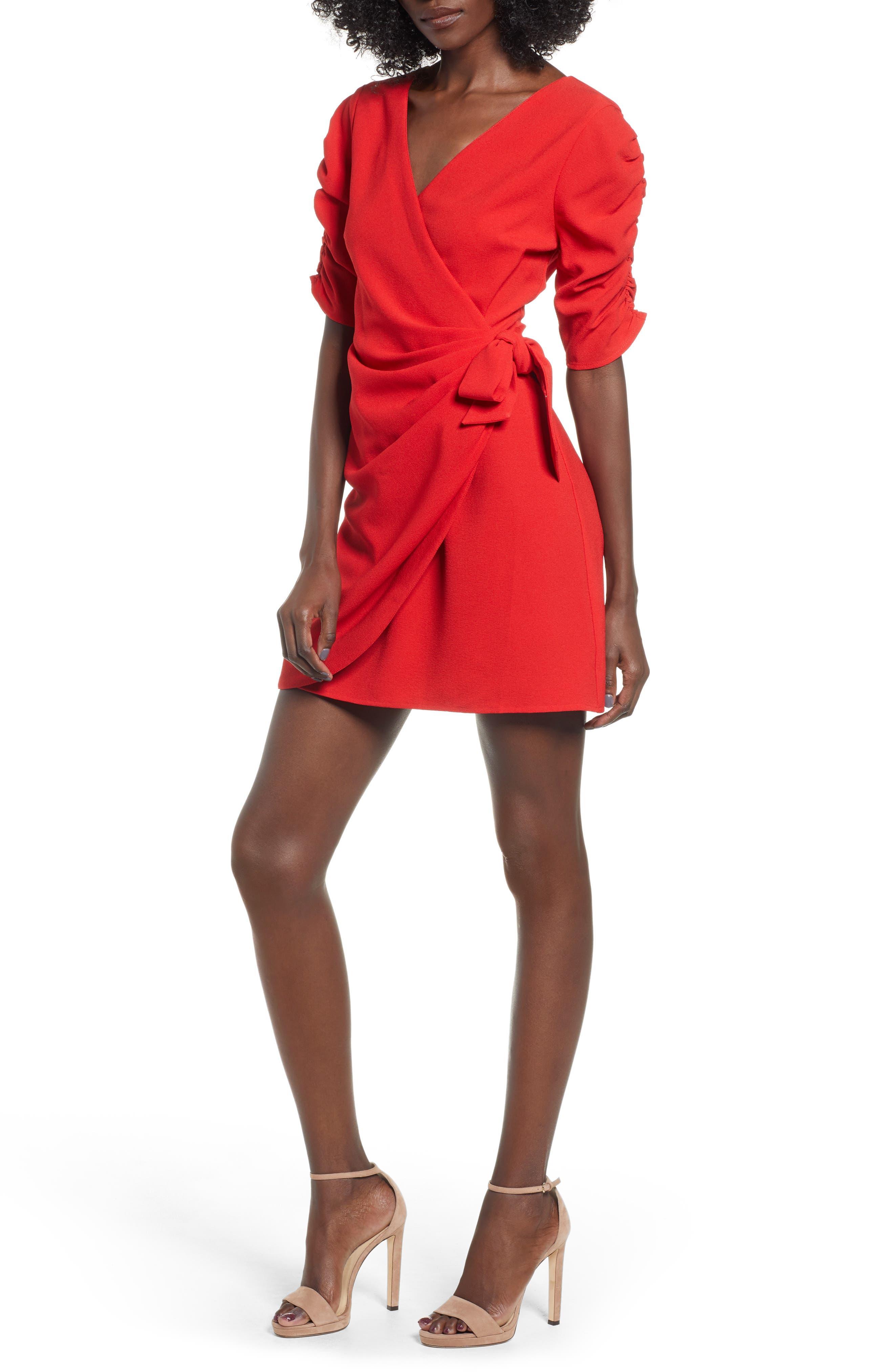 SPEECHLESS, Cinch Sleeve Faux Wrap Dress, Main thumbnail 1, color, 600