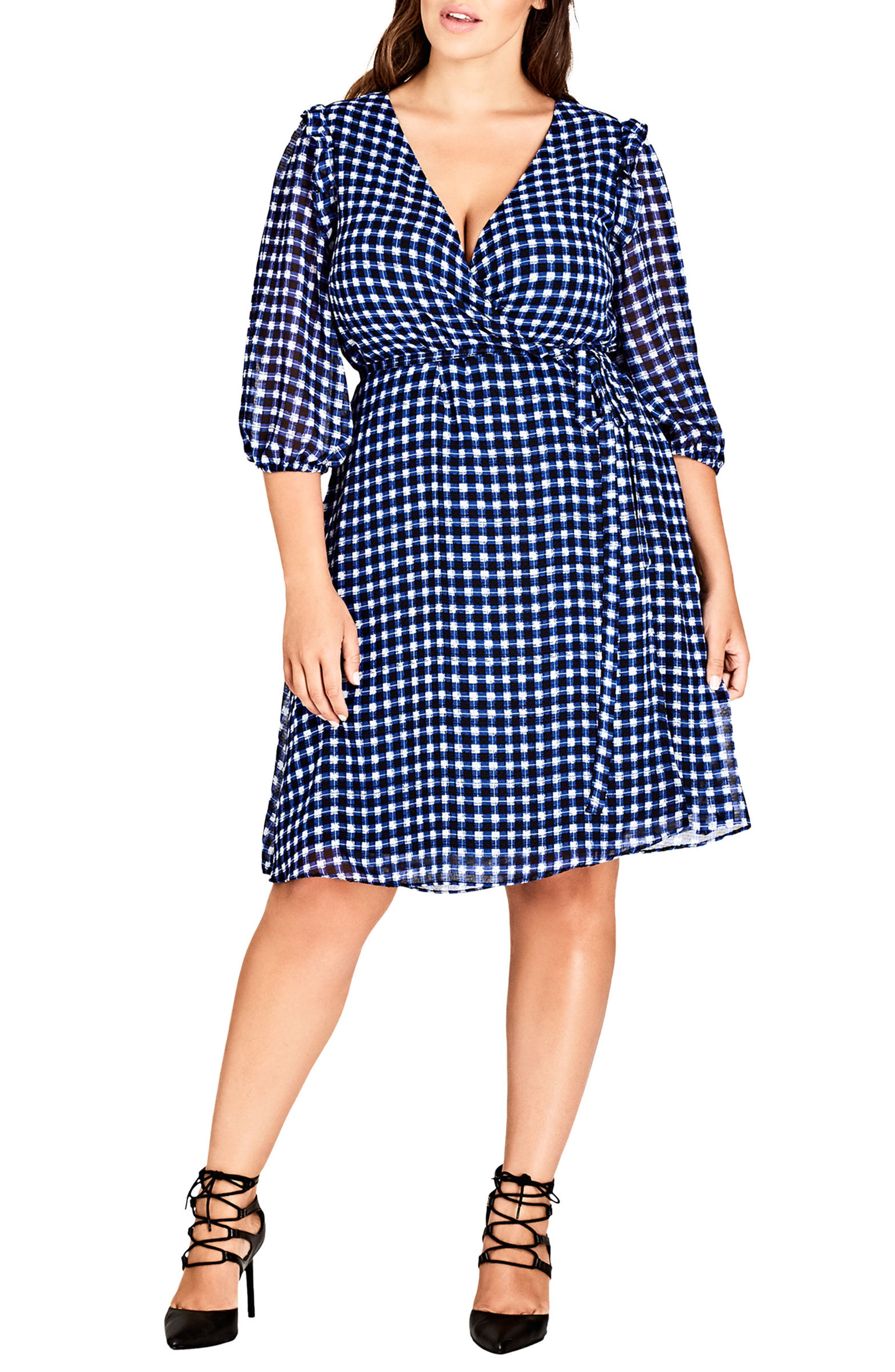 Plus Size City Chic Blue Bell Dress, Blue