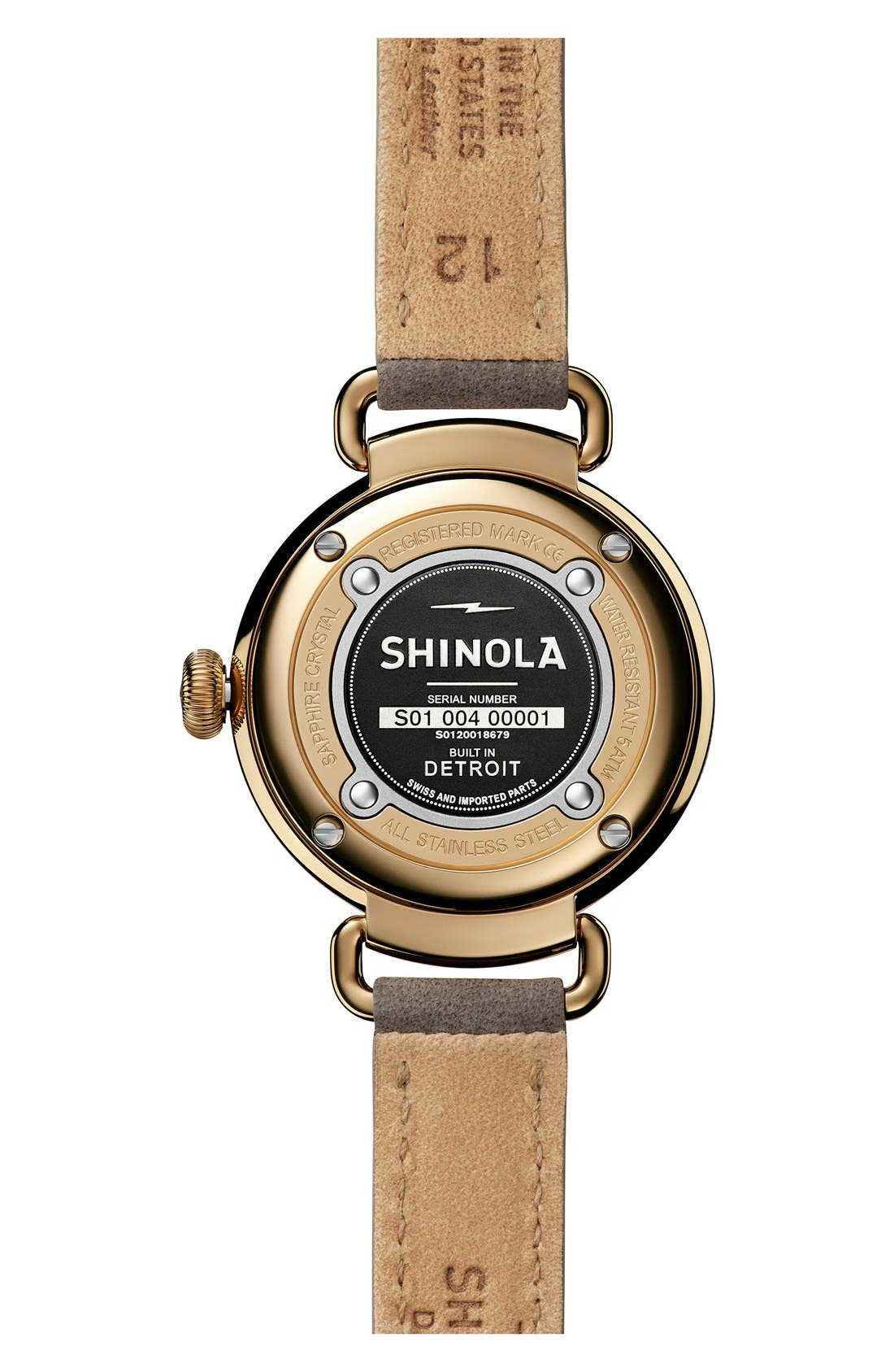 SHINOLA, Canfield Leather Strap Watch, 32mm, Alternate thumbnail 3, color, GREY/ WHITE MOTHER OF PEARL