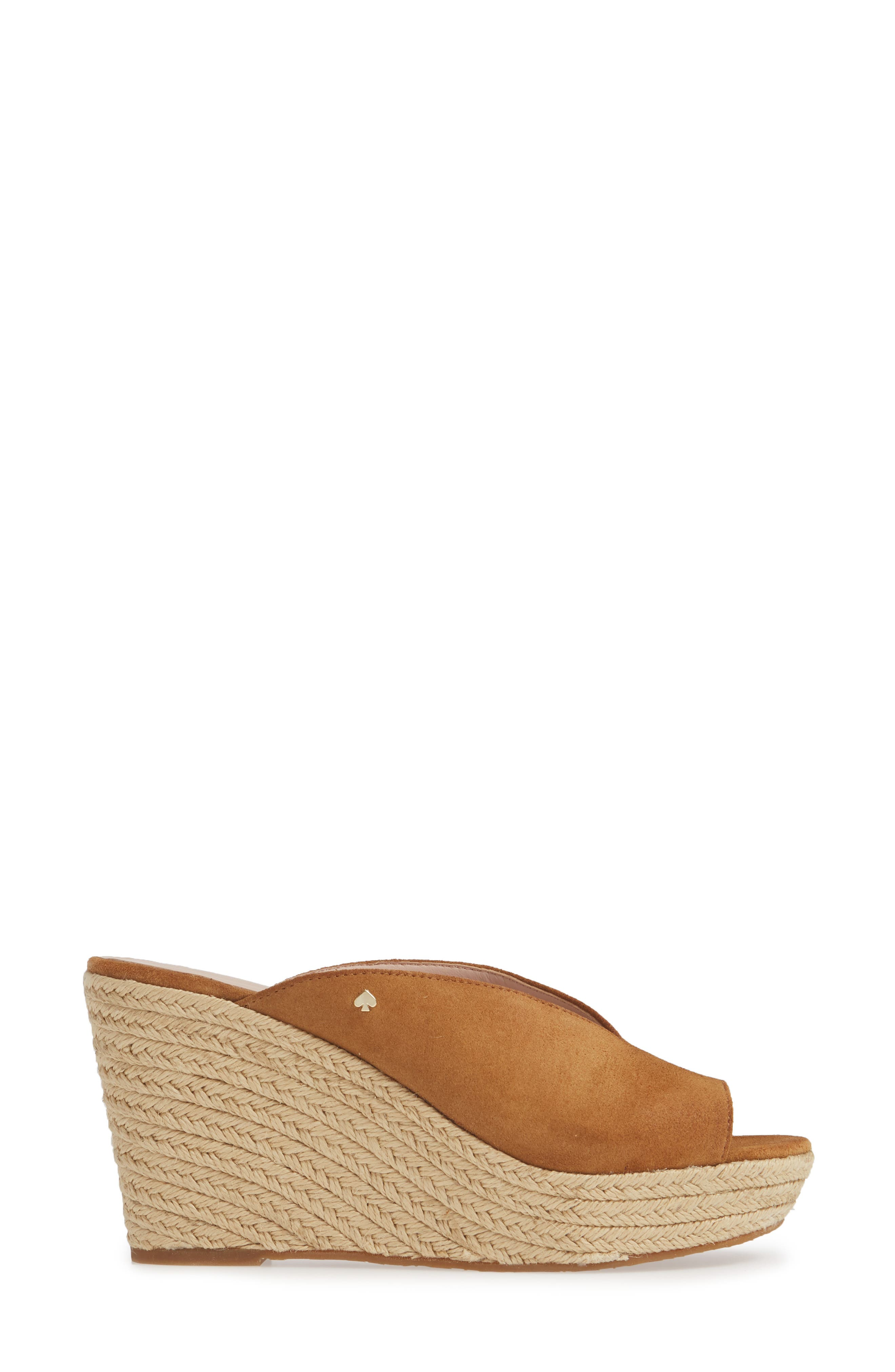 KATE SPADE NEW YORK, thea wedge espadrille mule, Alternate thumbnail 3, color, TOAST