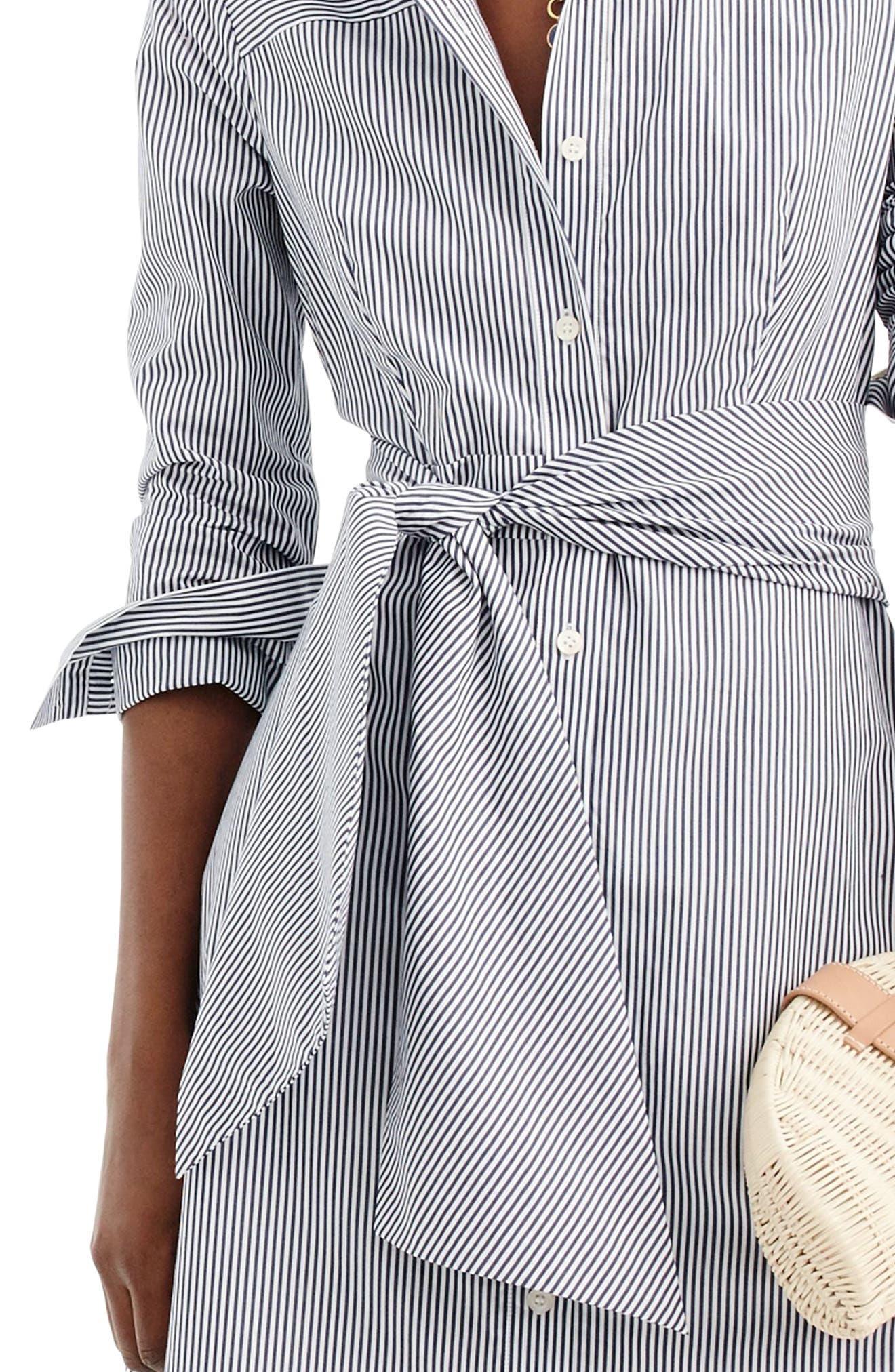 J.CREW, Stripe Tie-Waist Shirtdress, Alternate thumbnail 2, color, WHITE NAVY