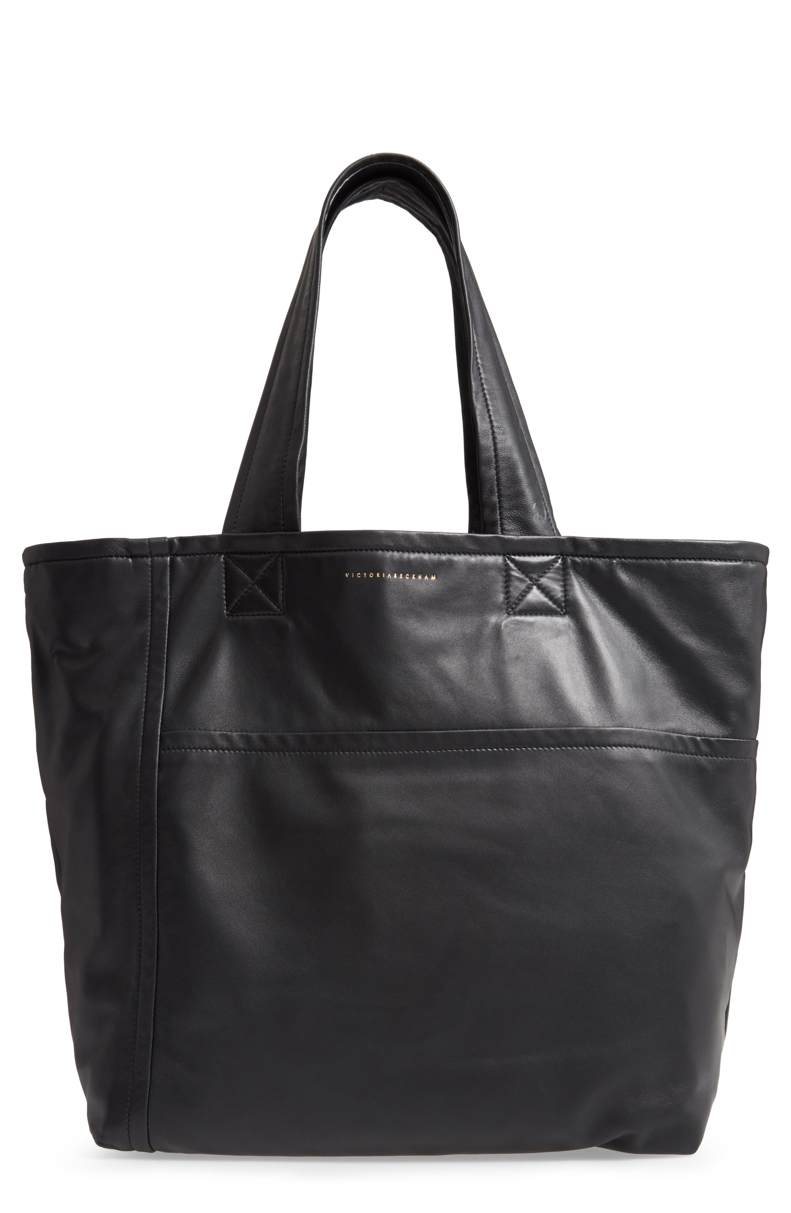 VICTORIA BECKHAM, Sunday Leather Tote Bag, Main thumbnail 1, color, 001