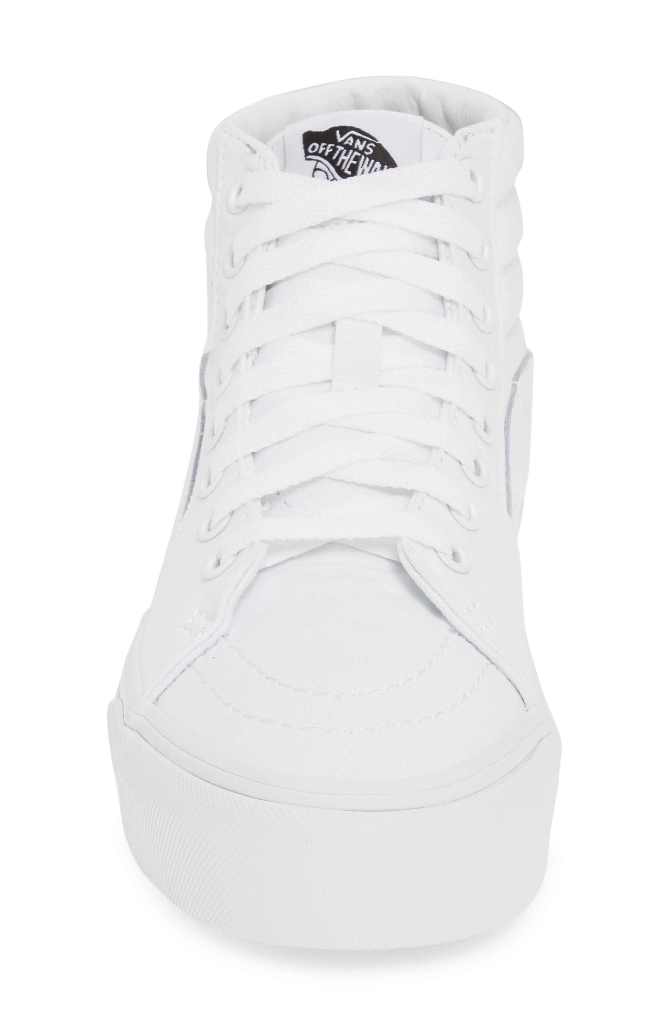 VANS, Sk8-Hi Platform Sneaker, Alternate thumbnail 4, color, TRUE WHITE/ TRUE WHITE