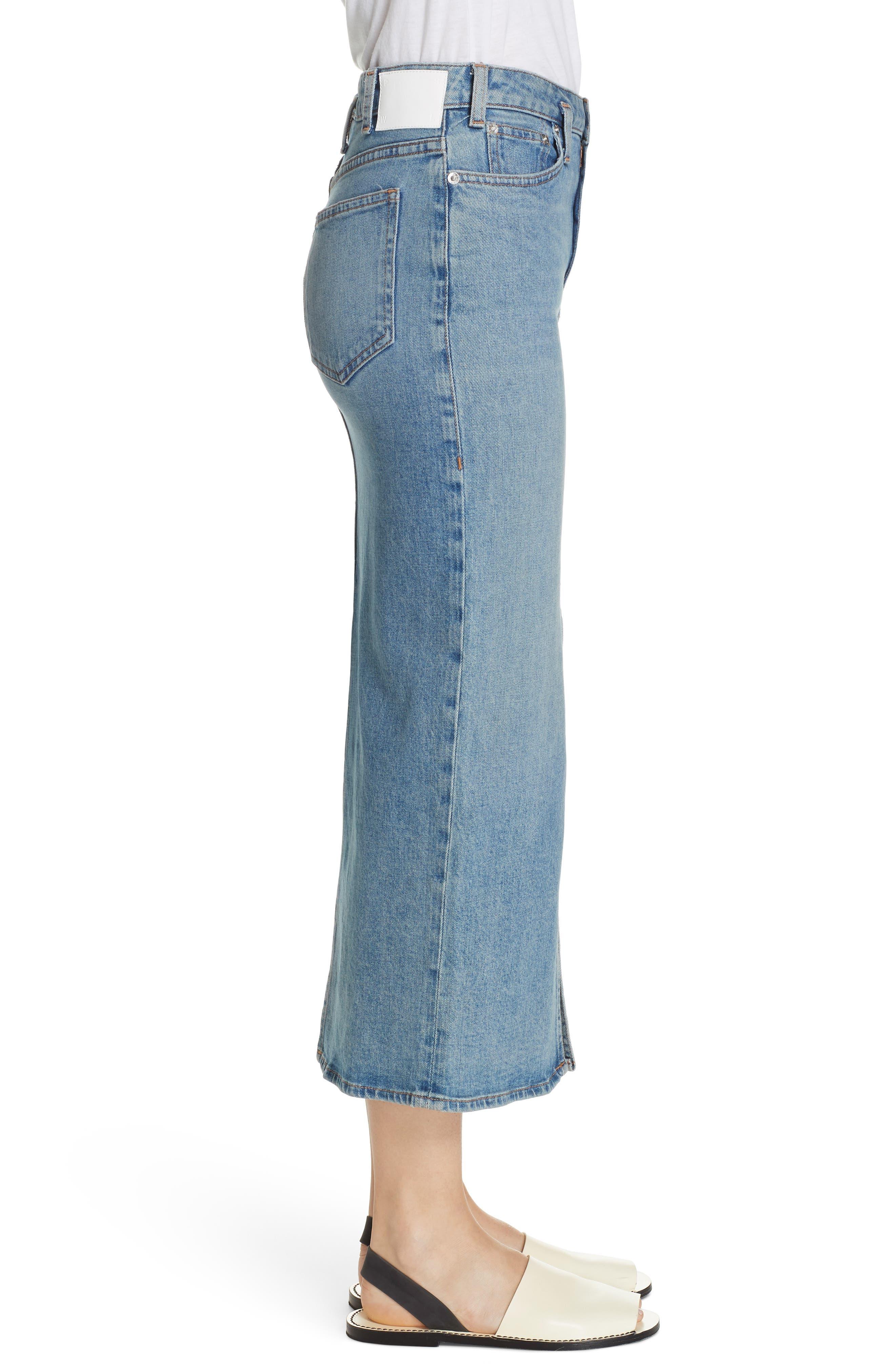 PROENZA SCHOULER, Slit Seam Denim Midi Skirt, Alternate thumbnail 3, color, CALIFORNIA