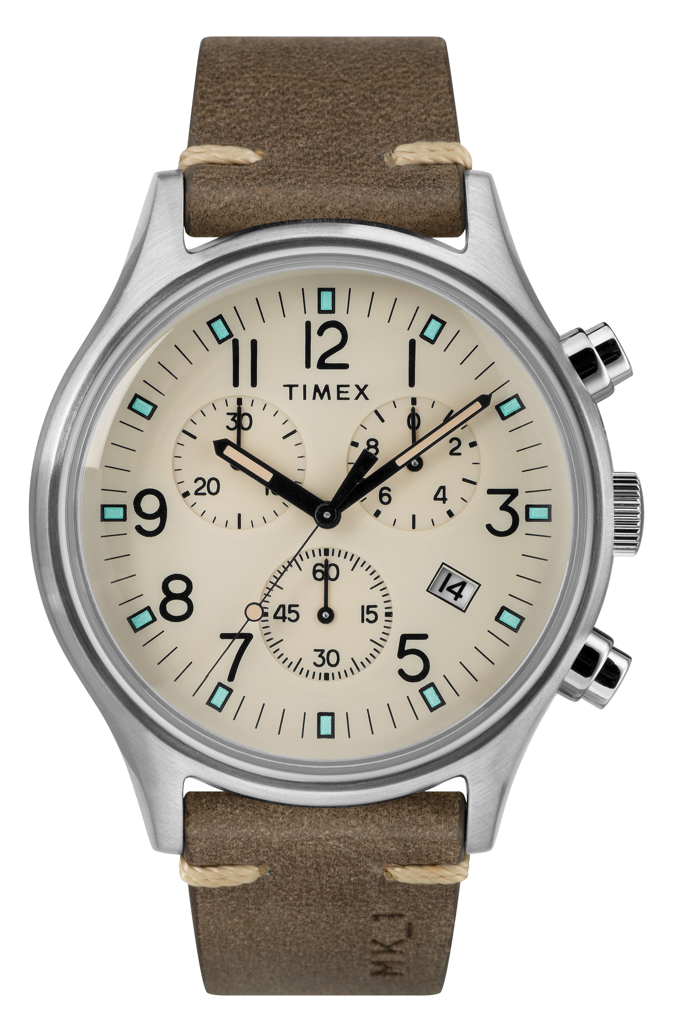 TIMEX<SUP>®</SUP>, MK1 Chronograph Leather Strap Watch, 42mm, Main thumbnail 1, color, BROWN/ CREAM/ SILVER