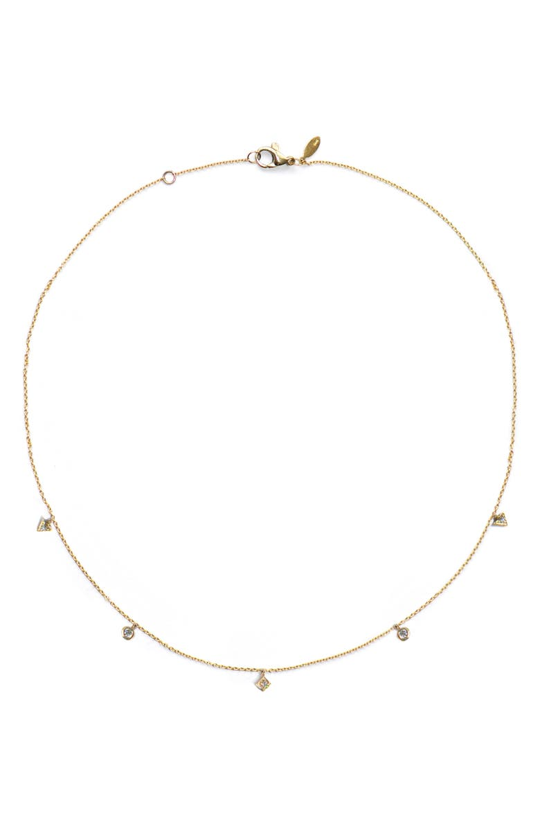 Anzie Cleo Diamond Dangling Shapes Necklace In Gold/ Diamond