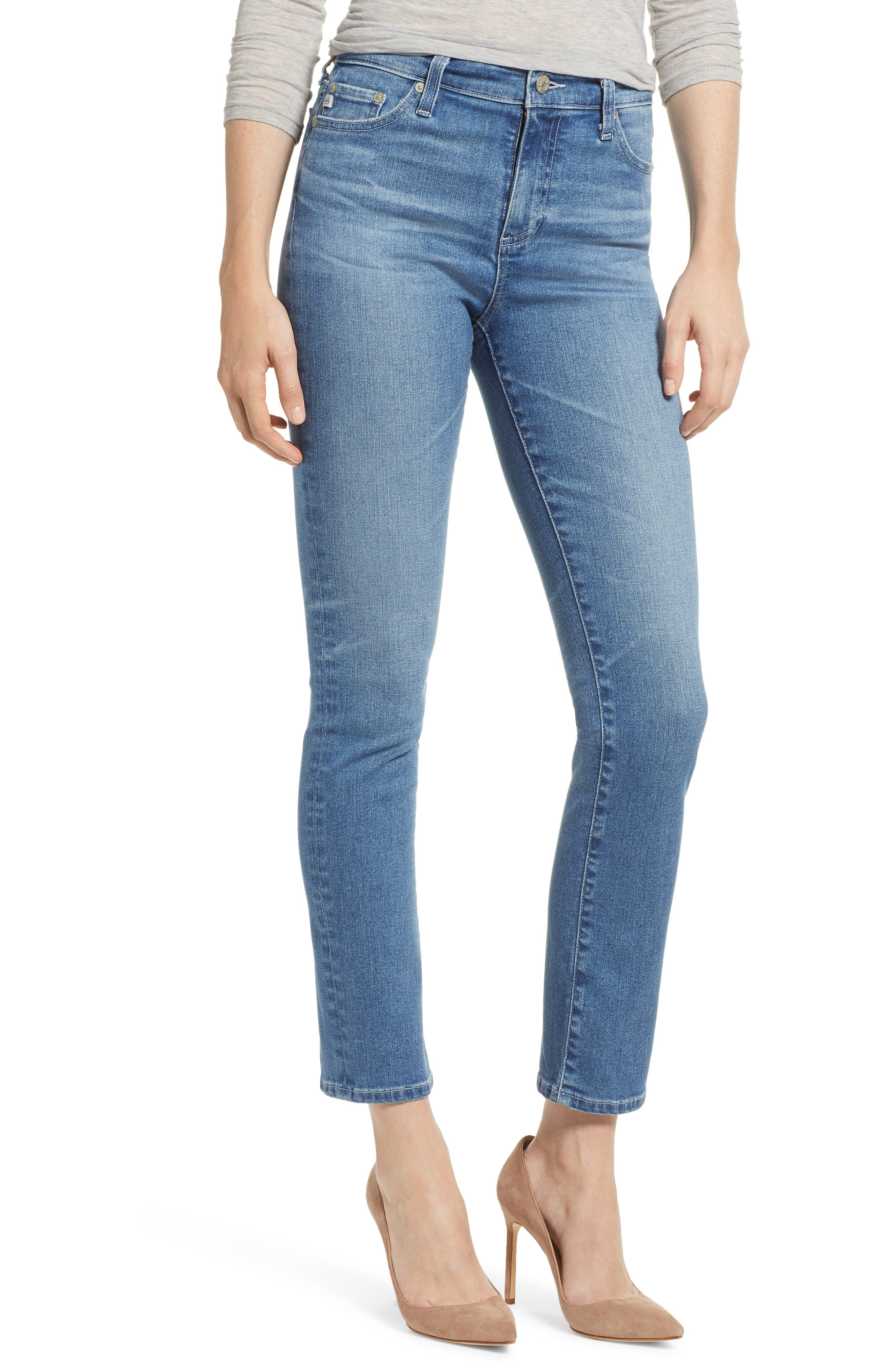 AG, Mari High Waist Slim Straight Leg Jeans, Main thumbnail 1, color, 16 YEARS SERENITY