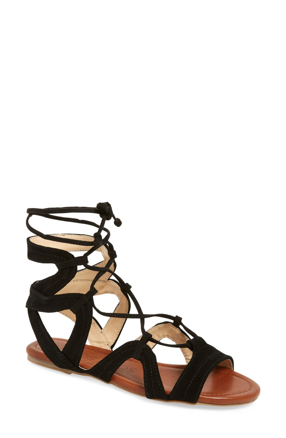SOLE SOCIETY, 'Beirut' Lace-Up Sandal, Main thumbnail 1, color, 003