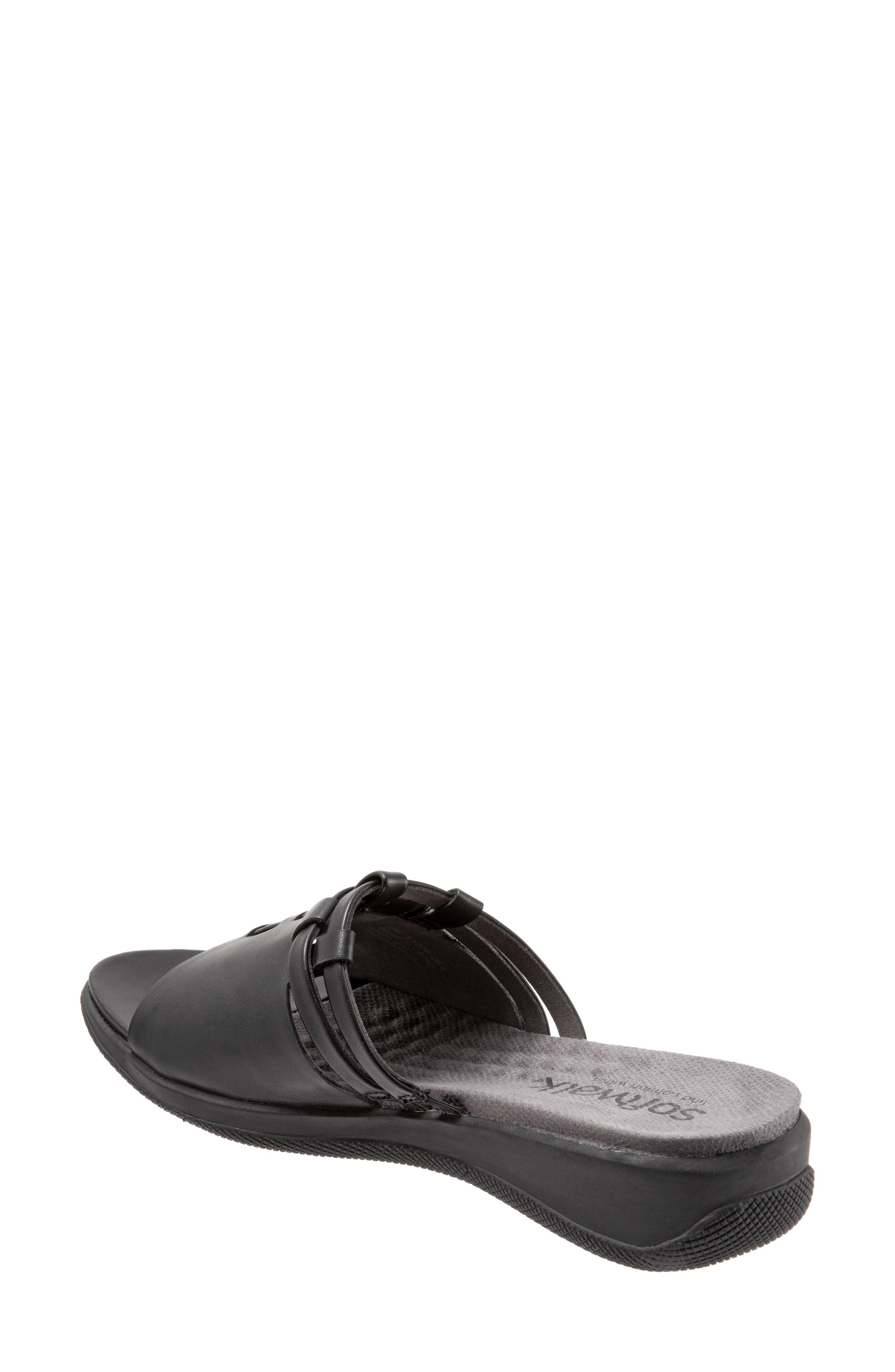 SOFTWALK<SUP>®</SUP>, Tahoma Woven Slide Sandal, Alternate thumbnail 2, color, BLACK LEATHER