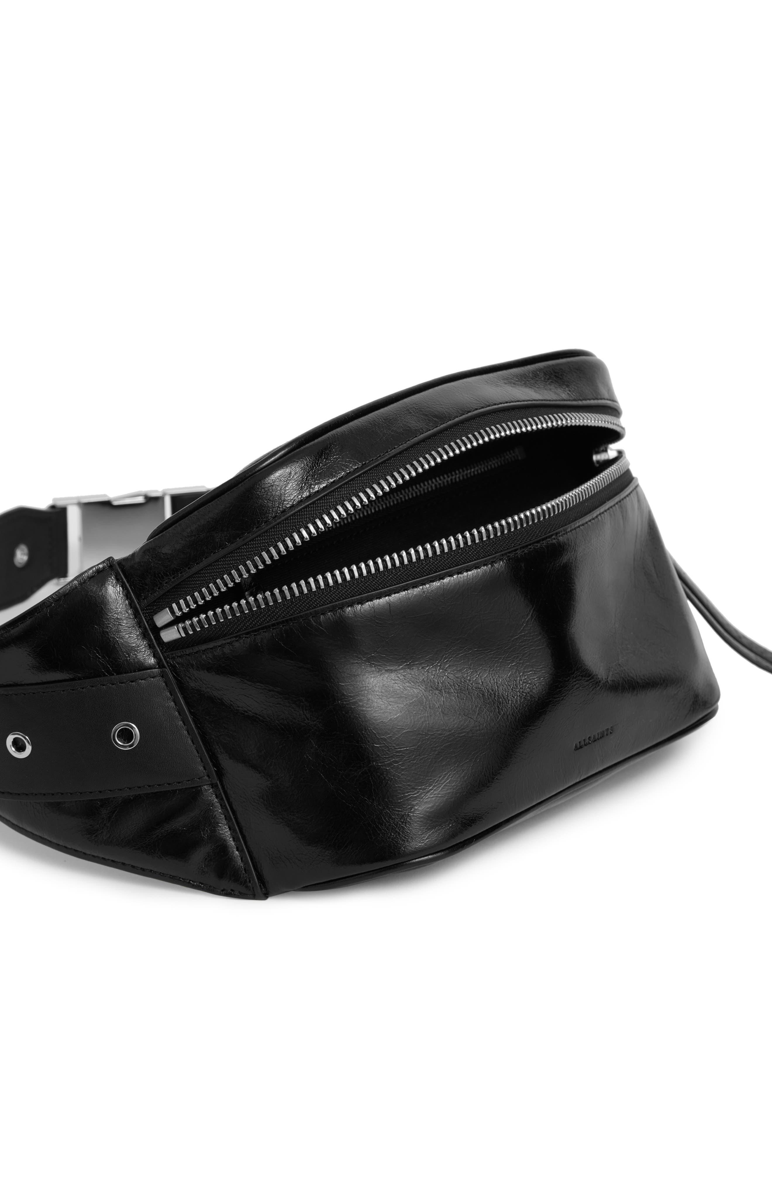 ALLSAINTS, Clip Leather Belt Bag, Alternate thumbnail 4, color, BLACK