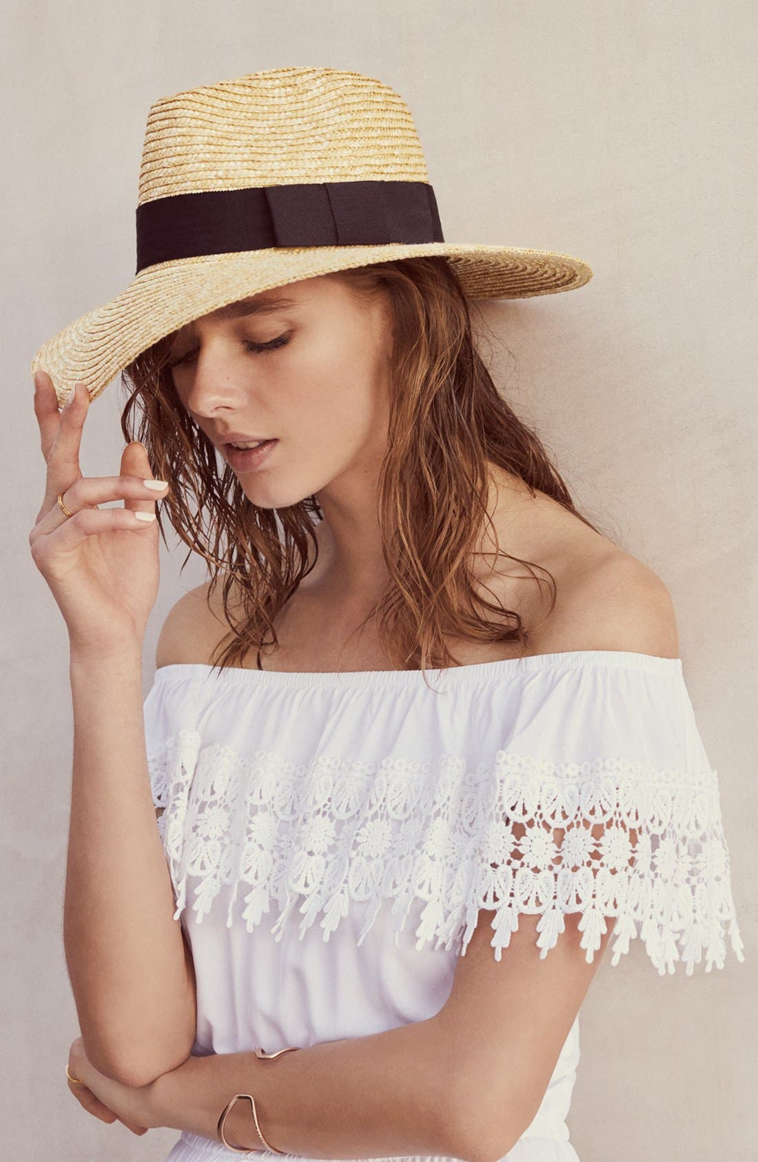 BRIXTON, 'Joanna' Straw Hat, Alternate thumbnail 5, color, LILAC