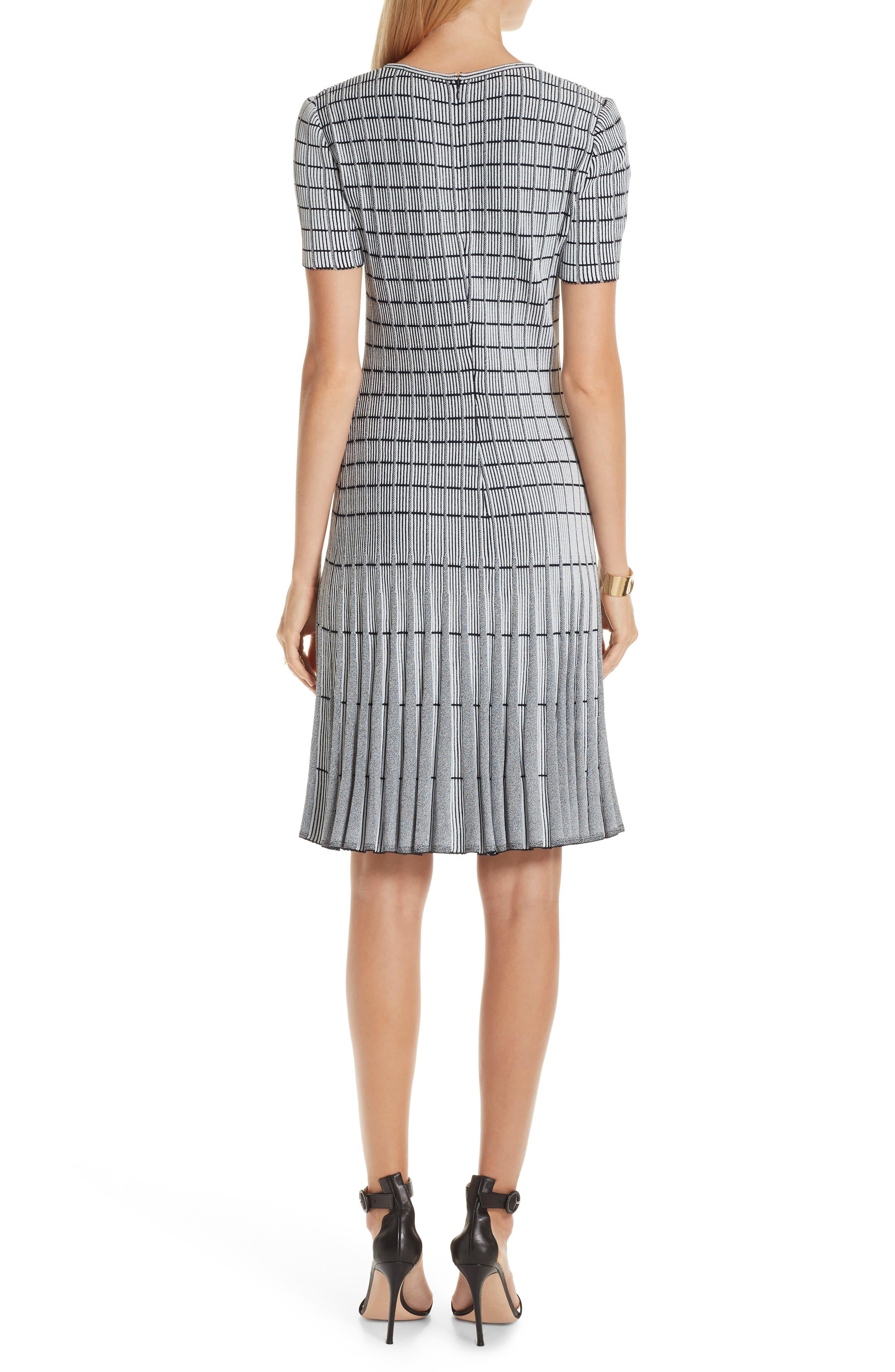 ST. JOHN COLLECTION, Monochrome Ottoman Knit Dress, Alternate thumbnail 2, color, GREY/ NAVY