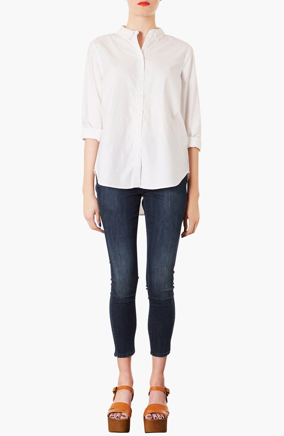 TOPSHOP, Woven Oxford Shirt, Alternate thumbnail 4, color, 100