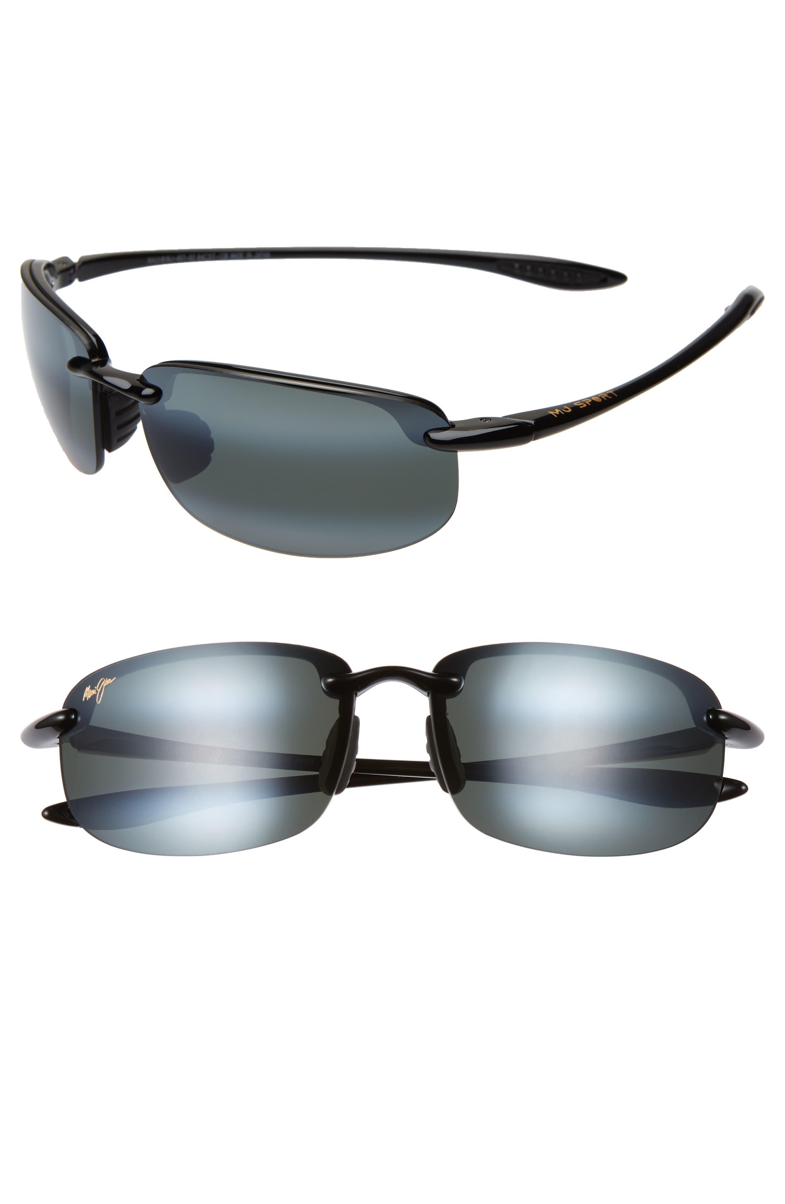 MAUI JIM, 'Ho'okipa - PolarizedPlus<sup>®</sup>2' 63mm Sunglasses, Alternate thumbnail 2, color, BLACK