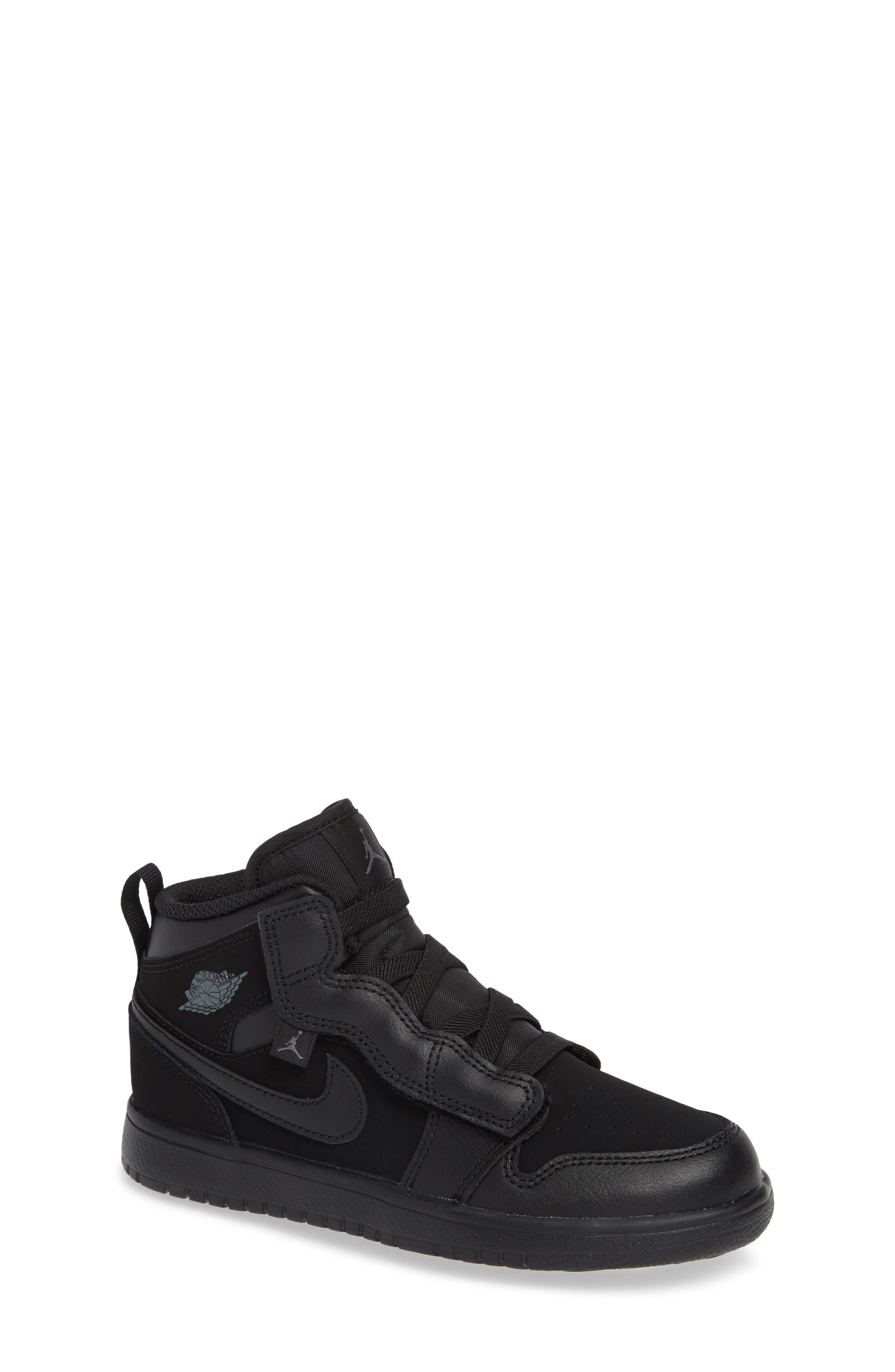 JORDAN, 1 Mid Basketball Shoe, Main thumbnail 1, color, BLACK/ DARK GREY