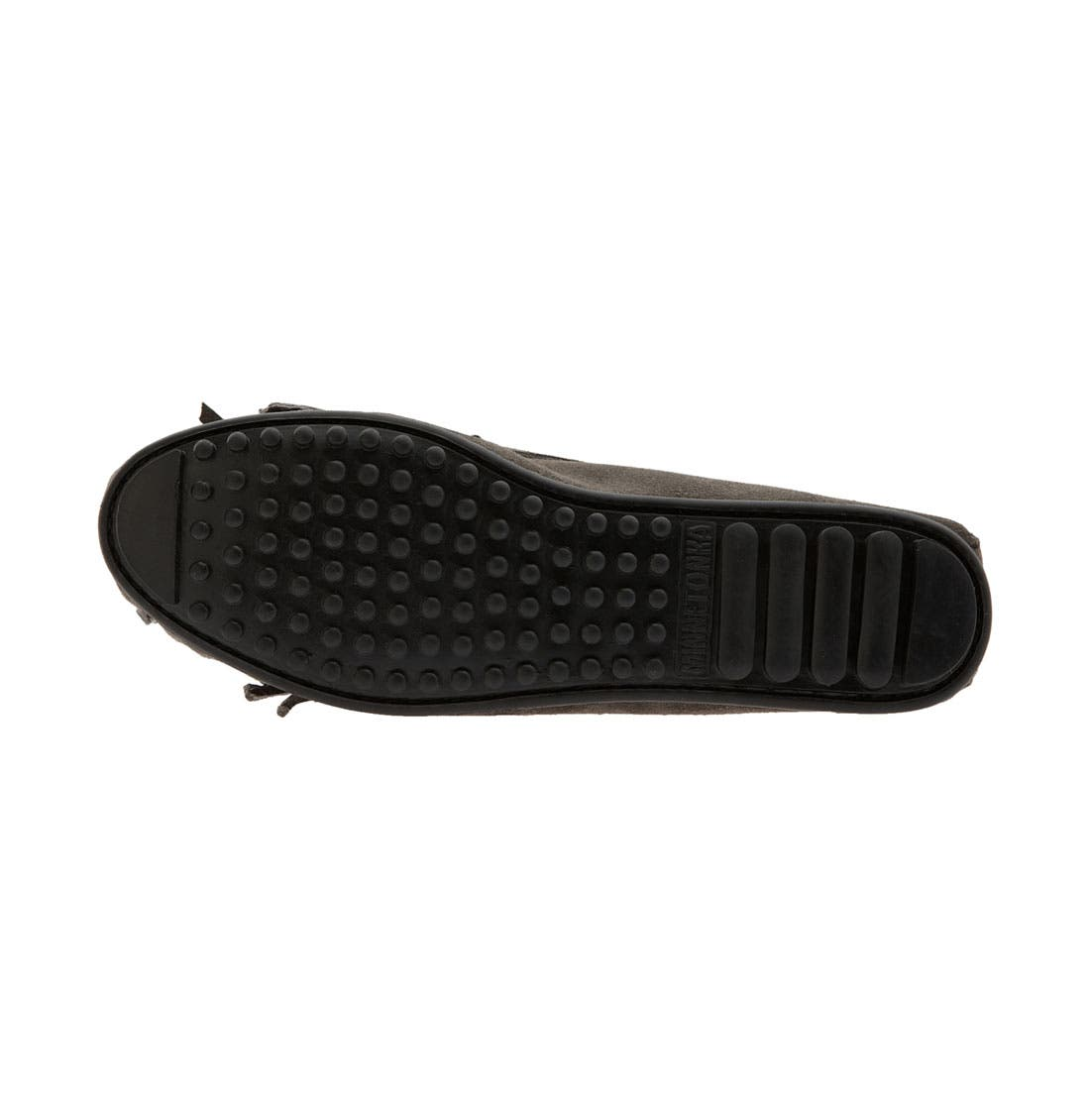 MINNETONKA, 'Kilty' Suede Moccasin, Alternate thumbnail 2, color, GREY