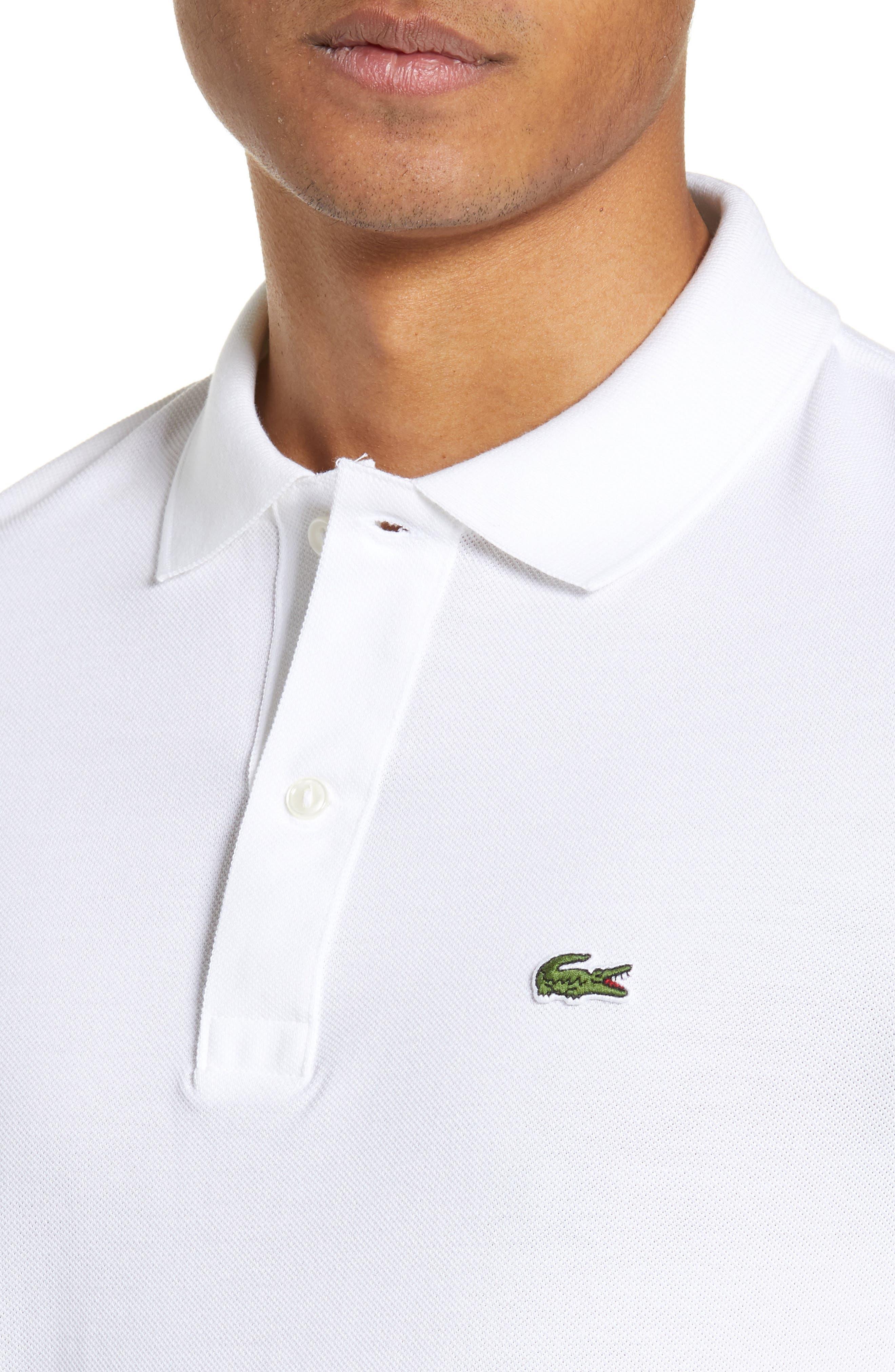 LACOSTE, Slim Fit Piqué Polo, Alternate thumbnail 4, color, WHITE