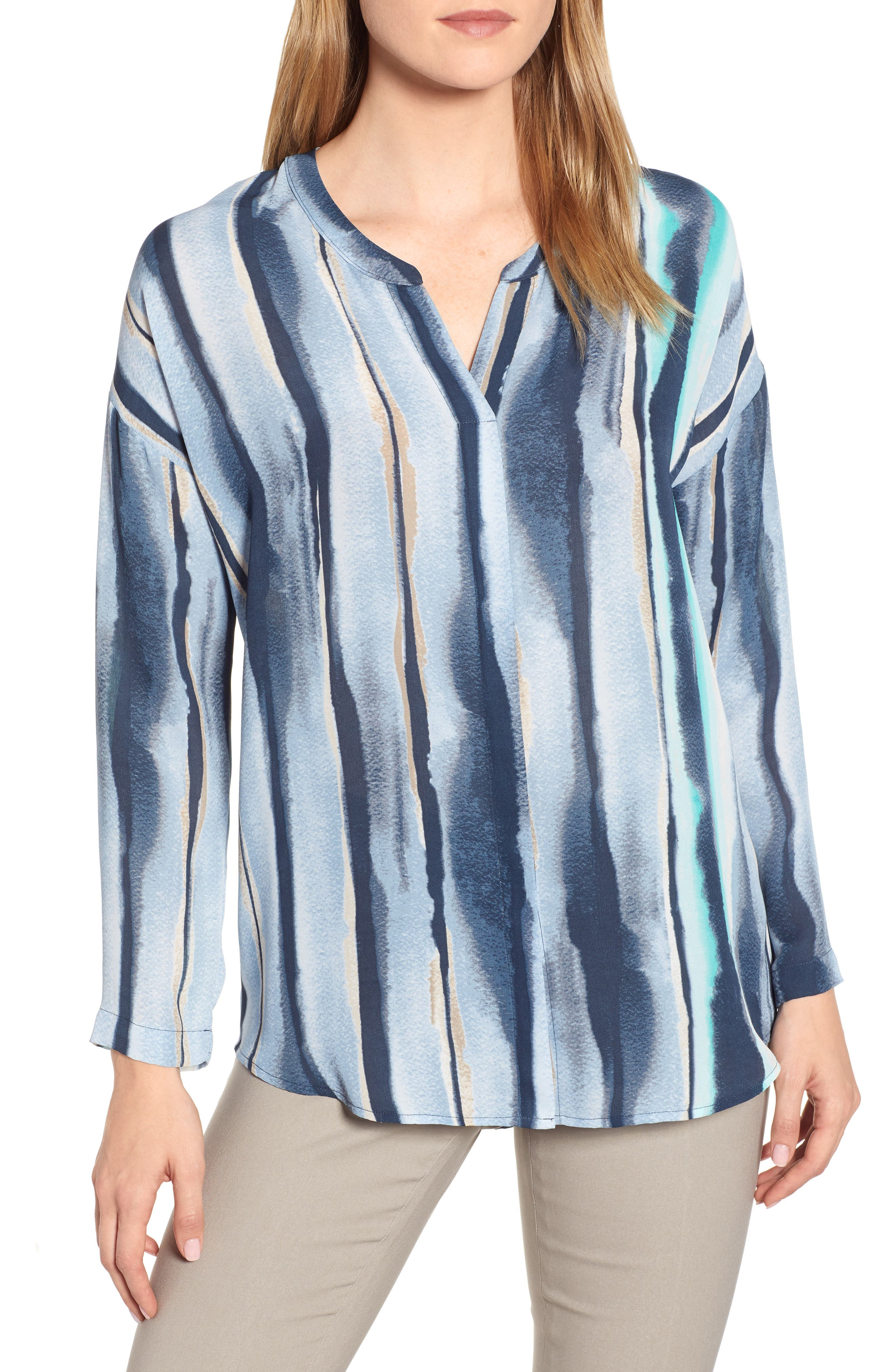 NIC+ZOE, Sea Stripe Long Sleeve Top, Main thumbnail 1, color, MULTI