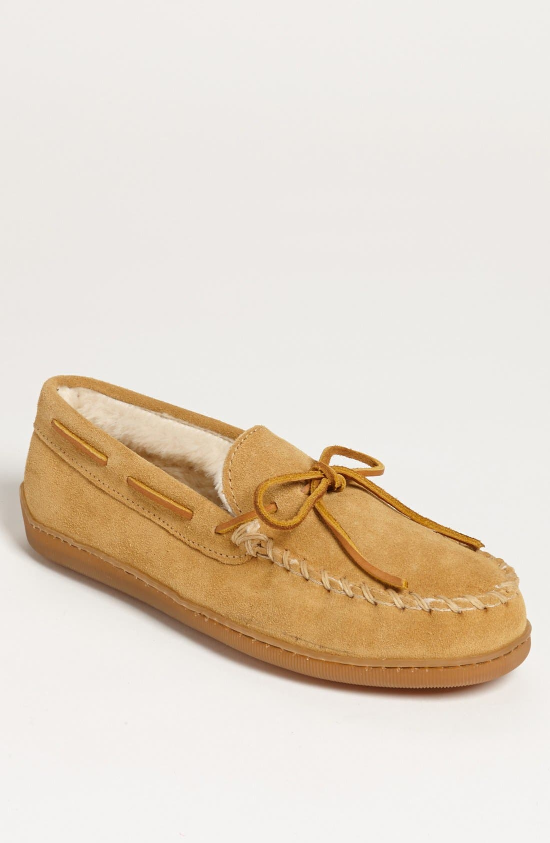 MINNETONKA, Suede Moccasin, Main thumbnail 1, color, TAN SUEDE