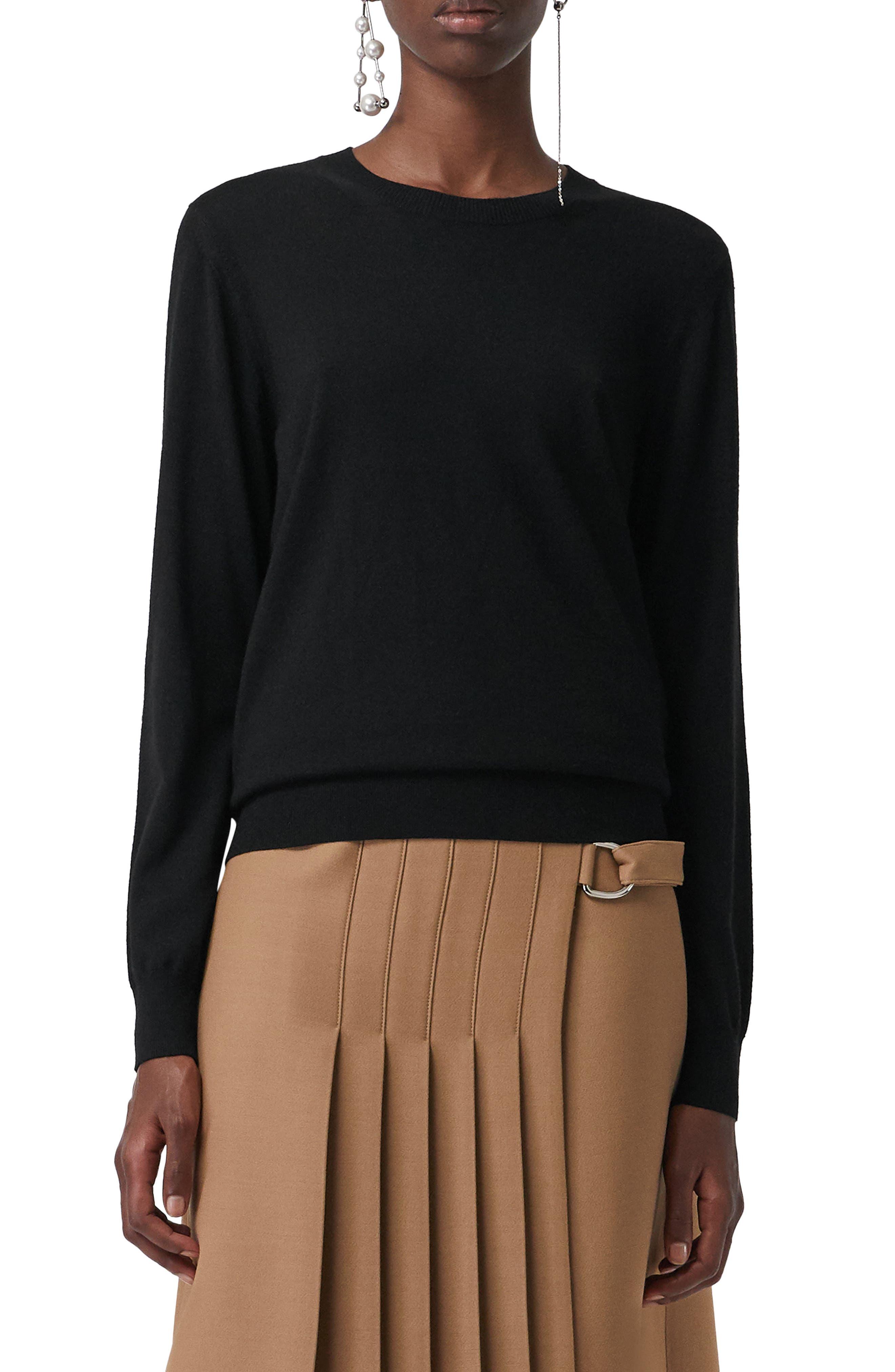 Burberry Bempton Tartan Elbow Patch Merino Wool Sweater, Black