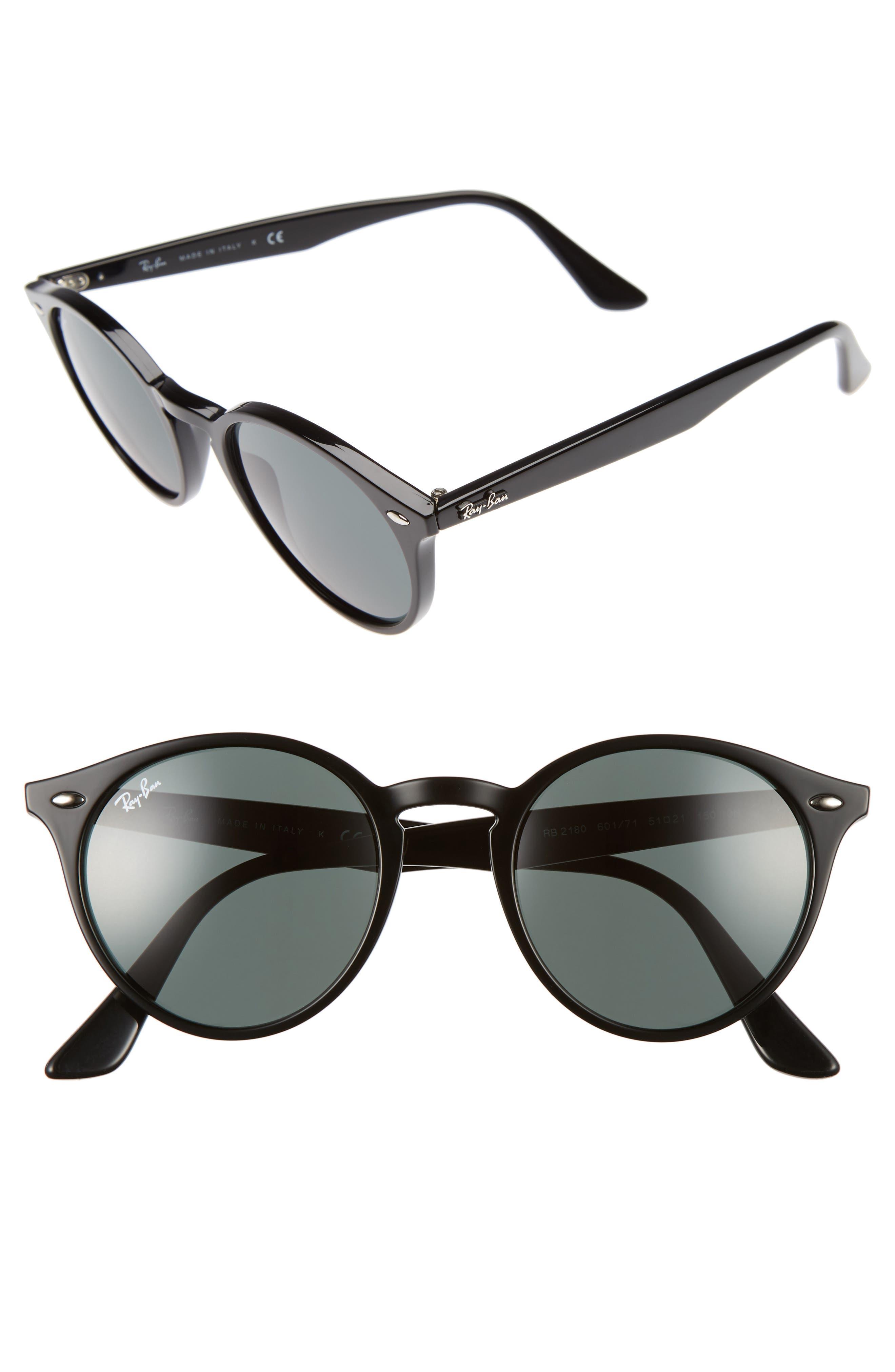 Ray-Ban Highstreet 51Mm Round Sunglasses - Black
