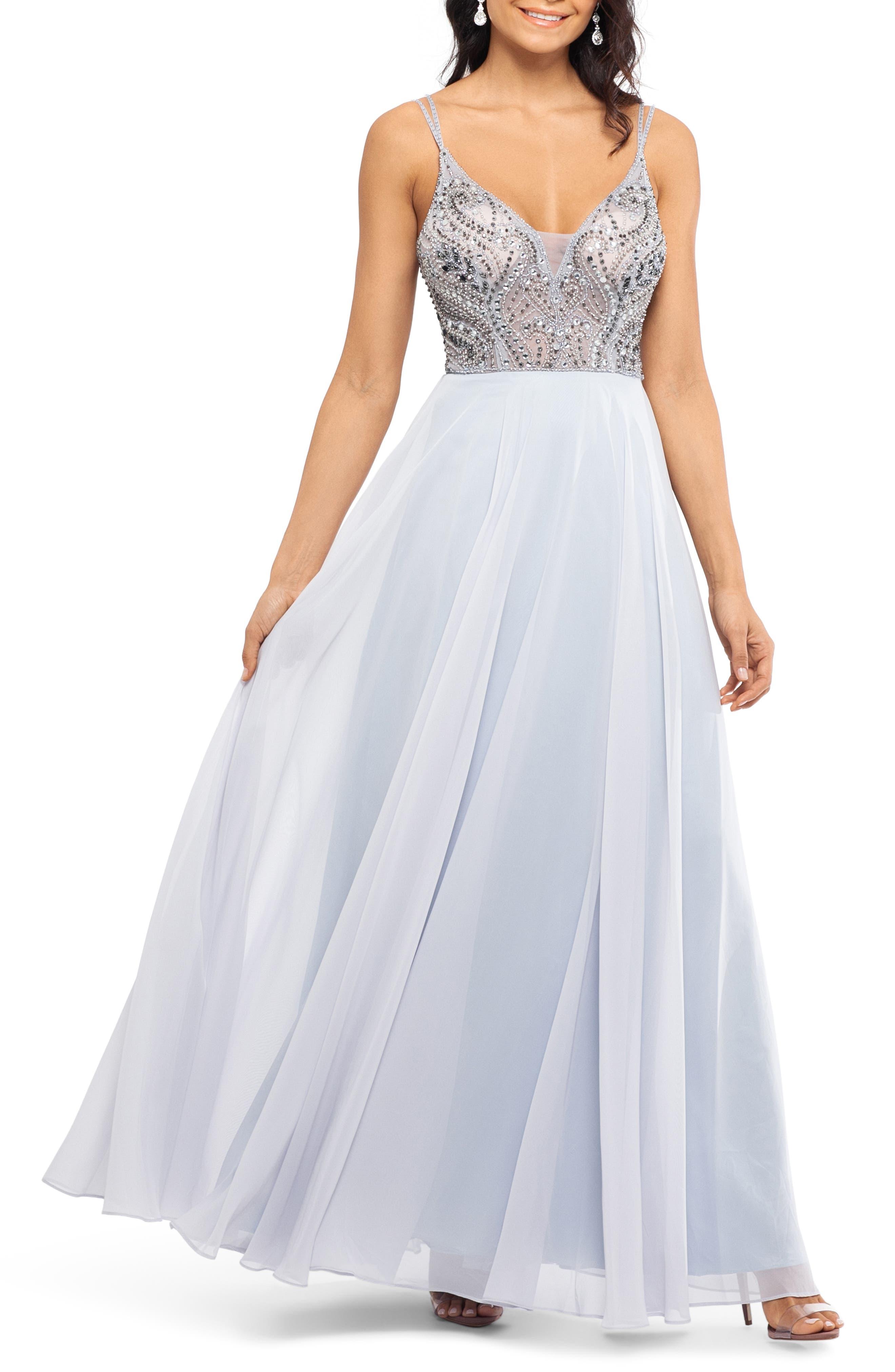 Xscape Embellished Illusion Bodice V-Neck Chiffon Evening Dress, Metallic