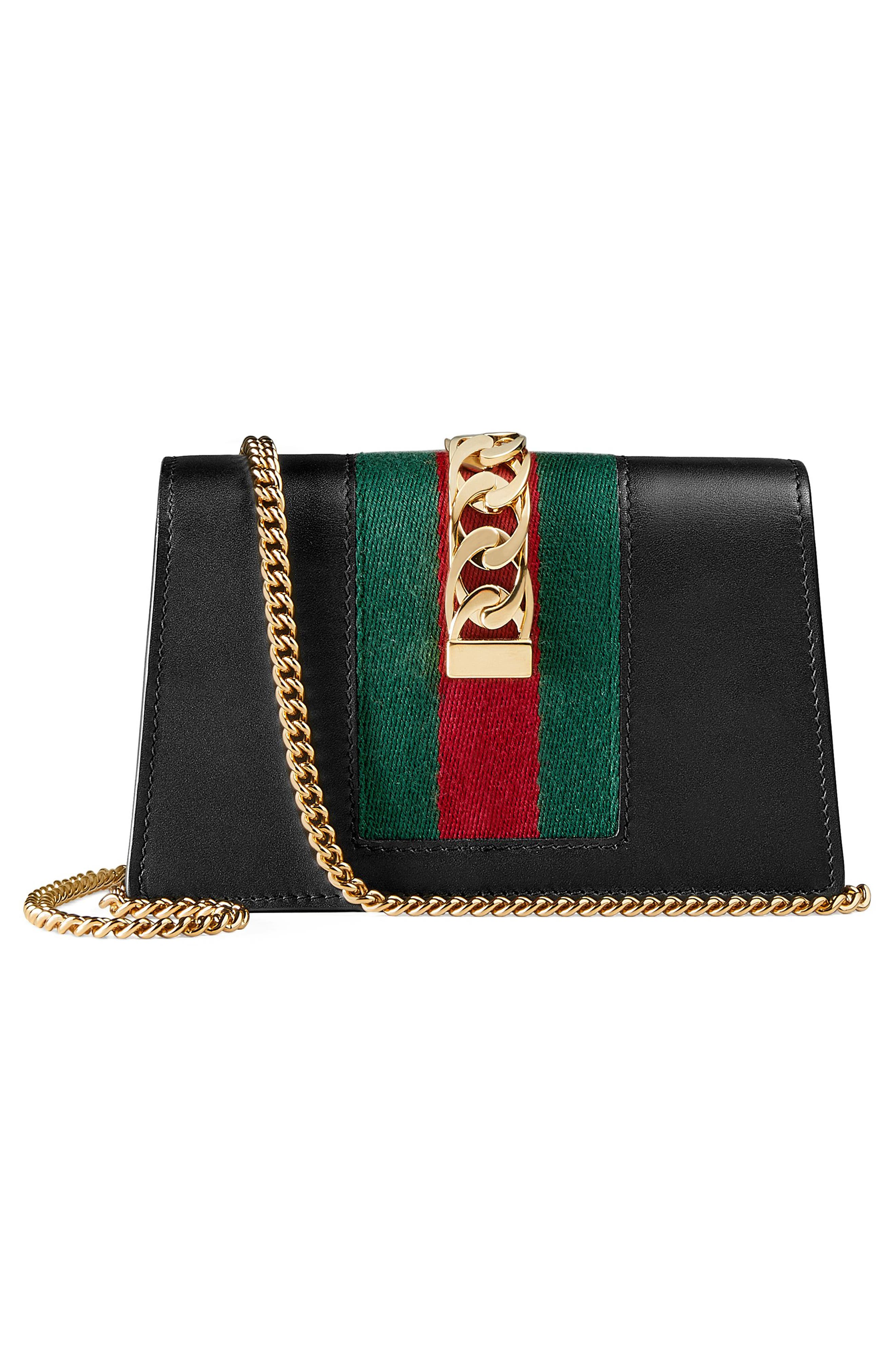 GUCCI, Super Mini Sylvie Chain Wallet, Alternate thumbnail 3, color, 001