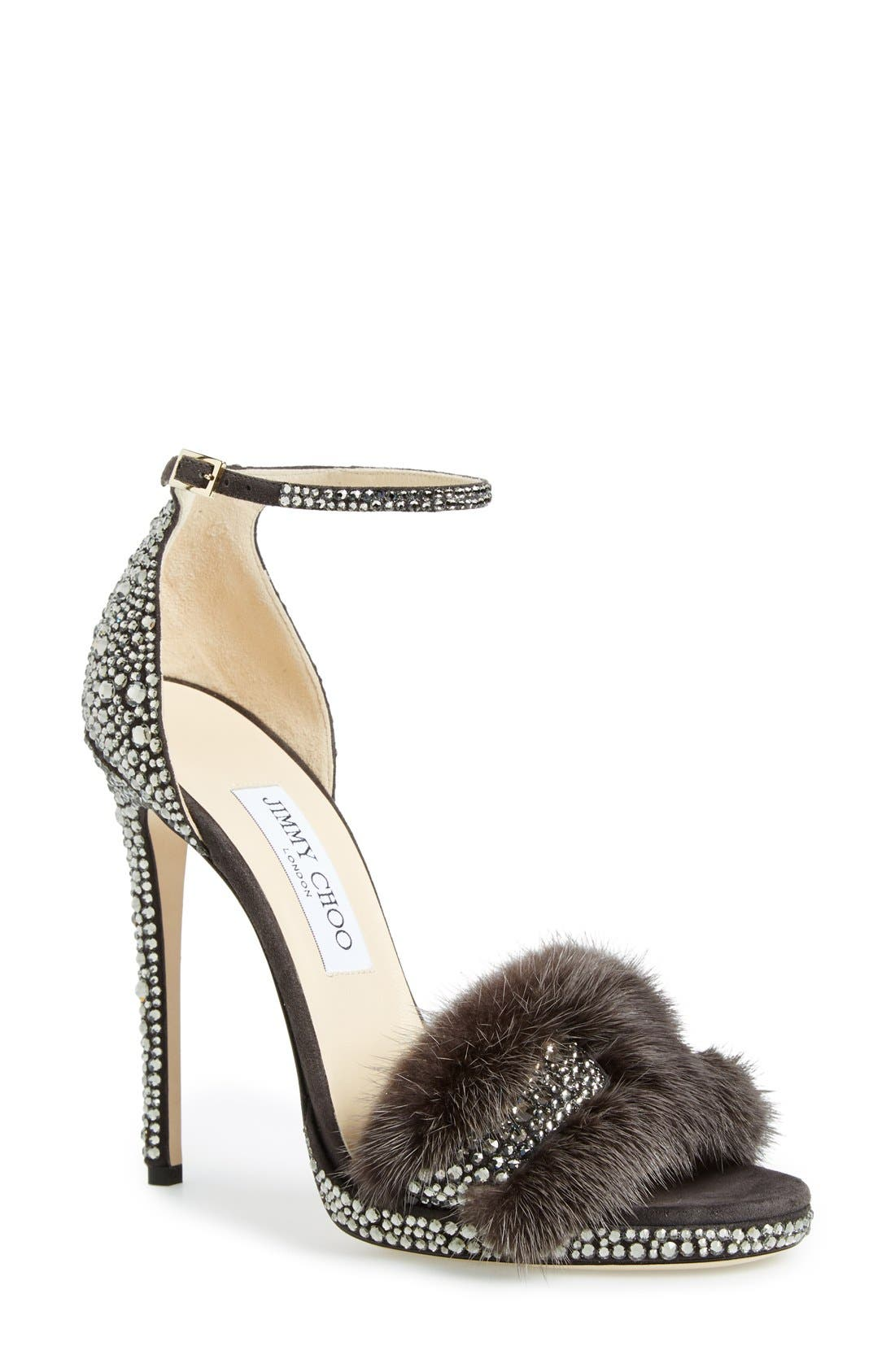JIMMY CHOO, 'Kaylee' Genuine Mink Fur Sandal, Main thumbnail 1, color, 025