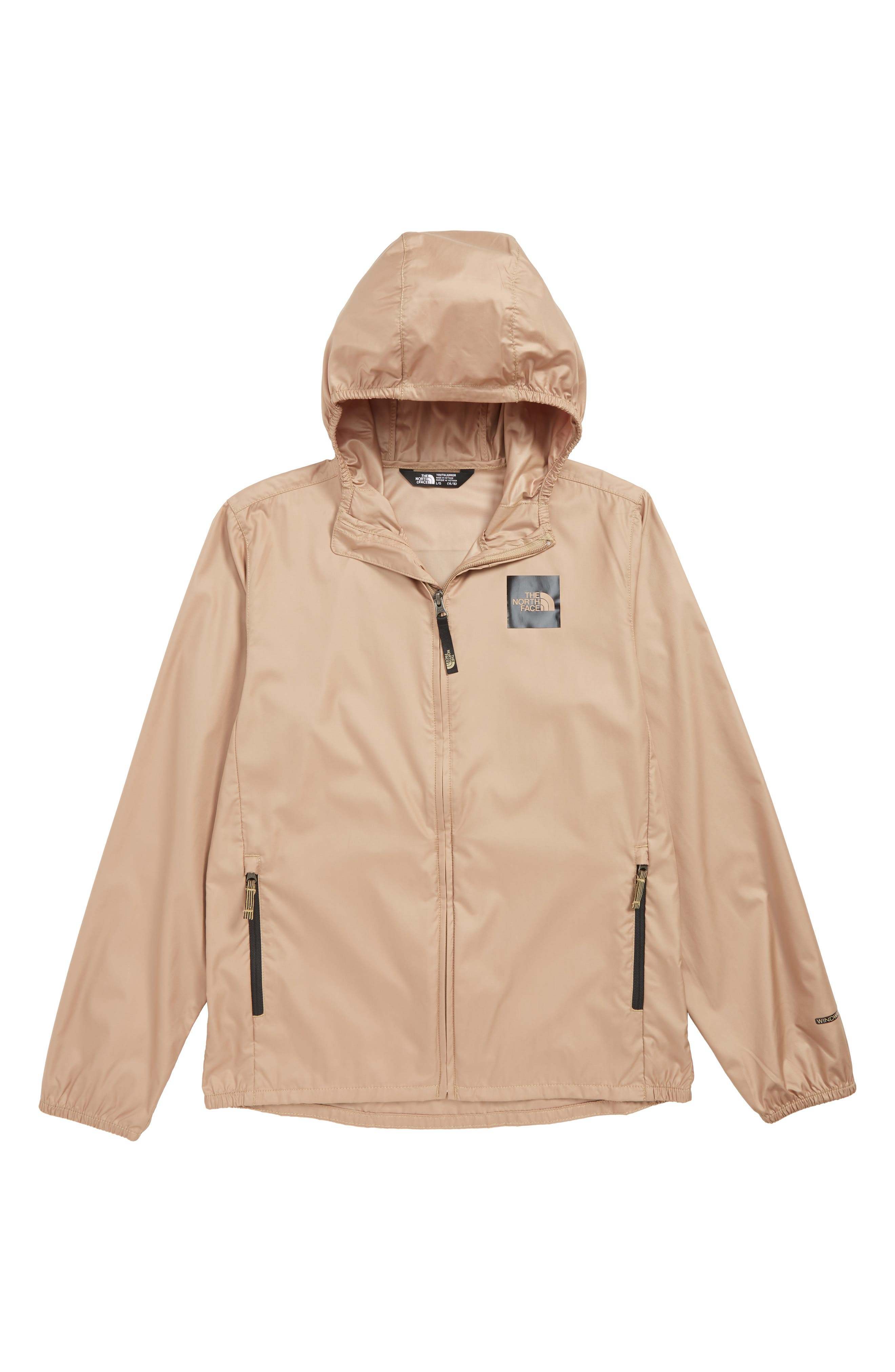 THE NORTH FACE, Flurry Water Repellent Hooded Windbreaker, Main thumbnail 1, color, KELP TAN
